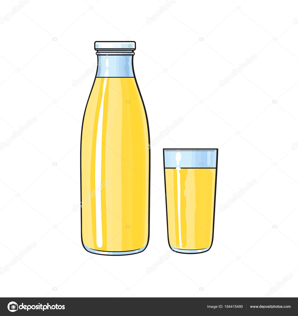Verre de dessin anim de vecteur bouteille de jus de - Dessin de verre ...
