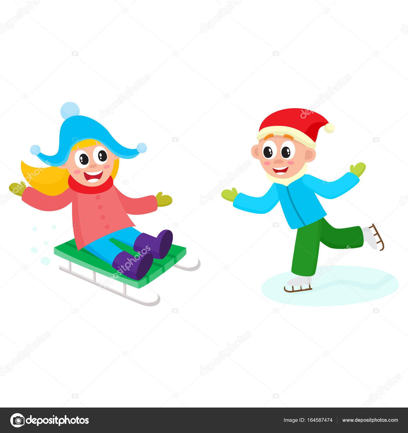 559c1eab6 vector kids having fun outdoors in winter set — Stock Vector ...