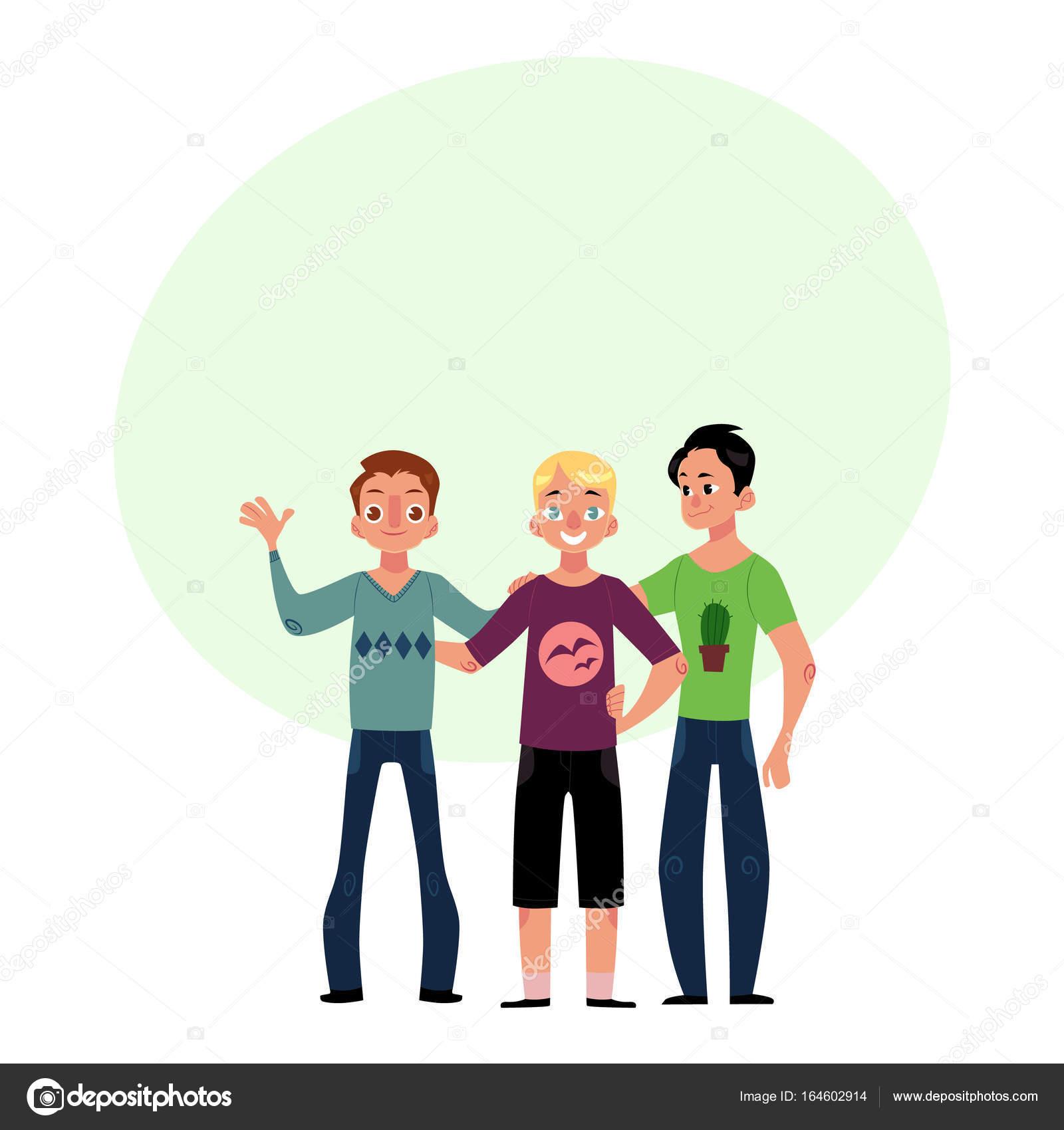 男の子、男性、ハグの友人の男同士の友情概念 2 カップル — ストック