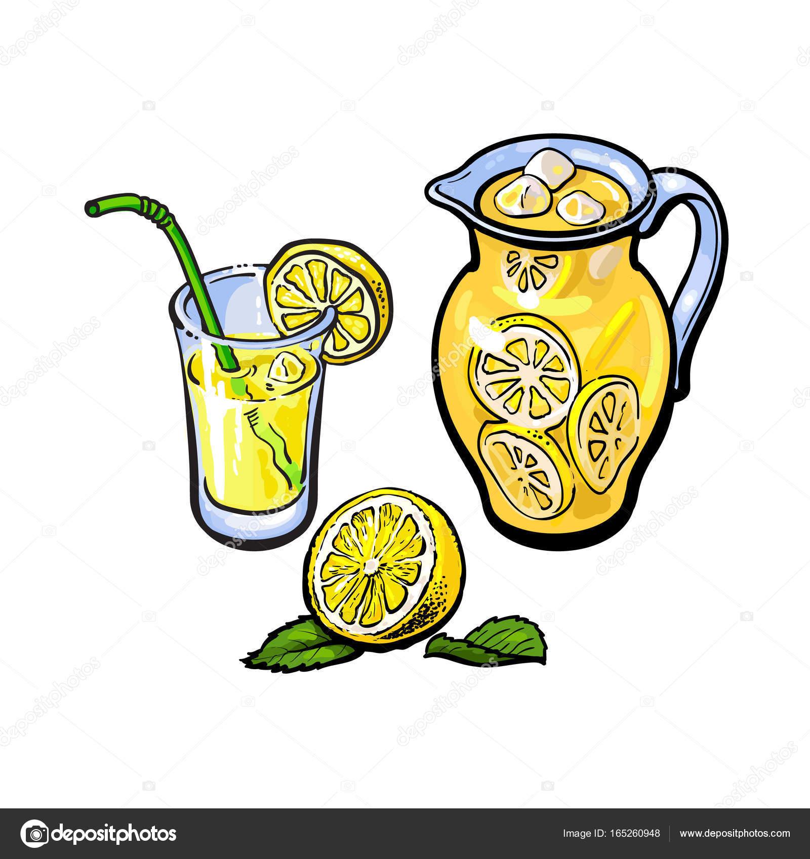 jarro de limonada de vetor copo de suco de limão palha vetor de