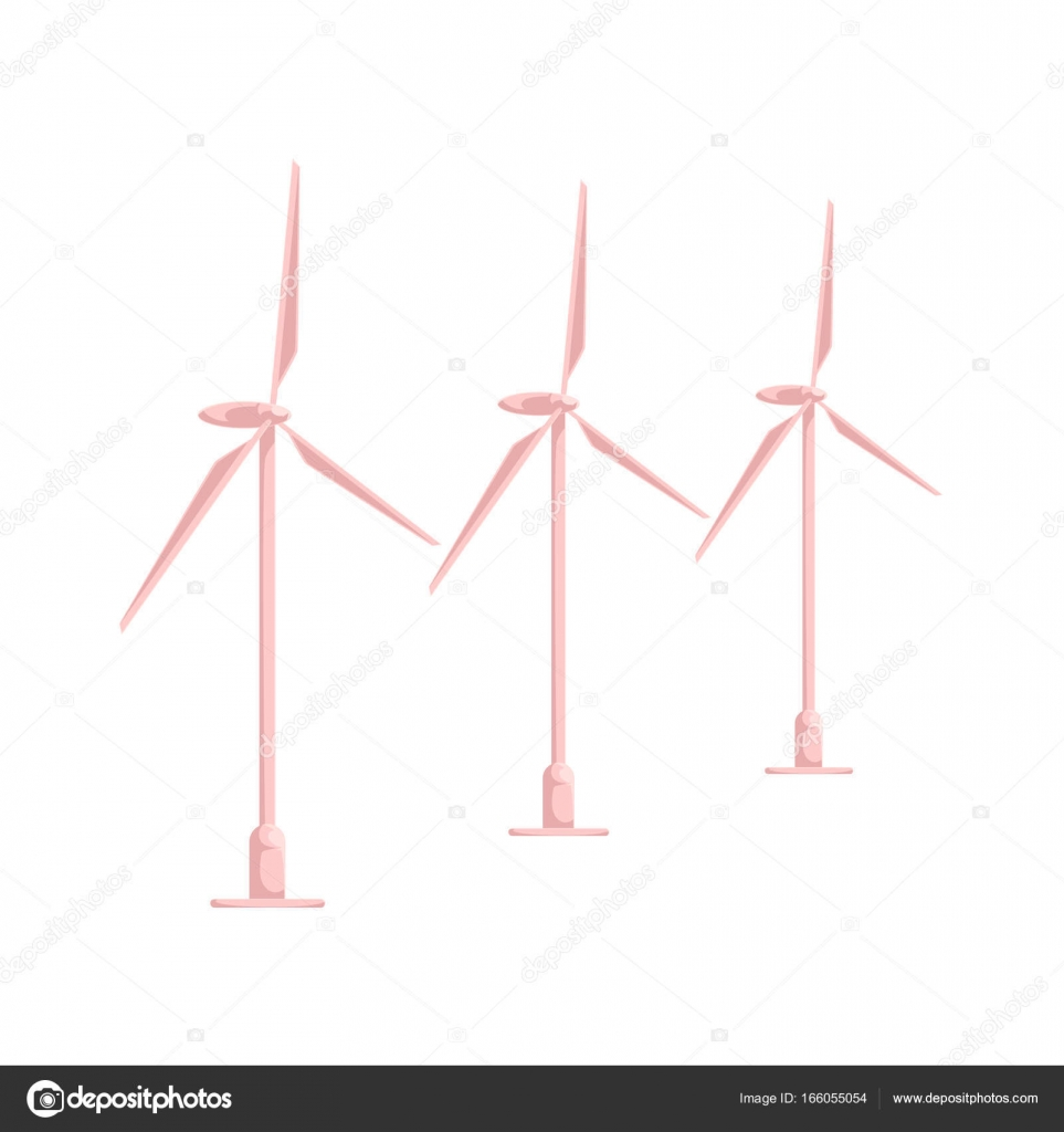 vector flat cartoon wind power station isolated — Stock Vector