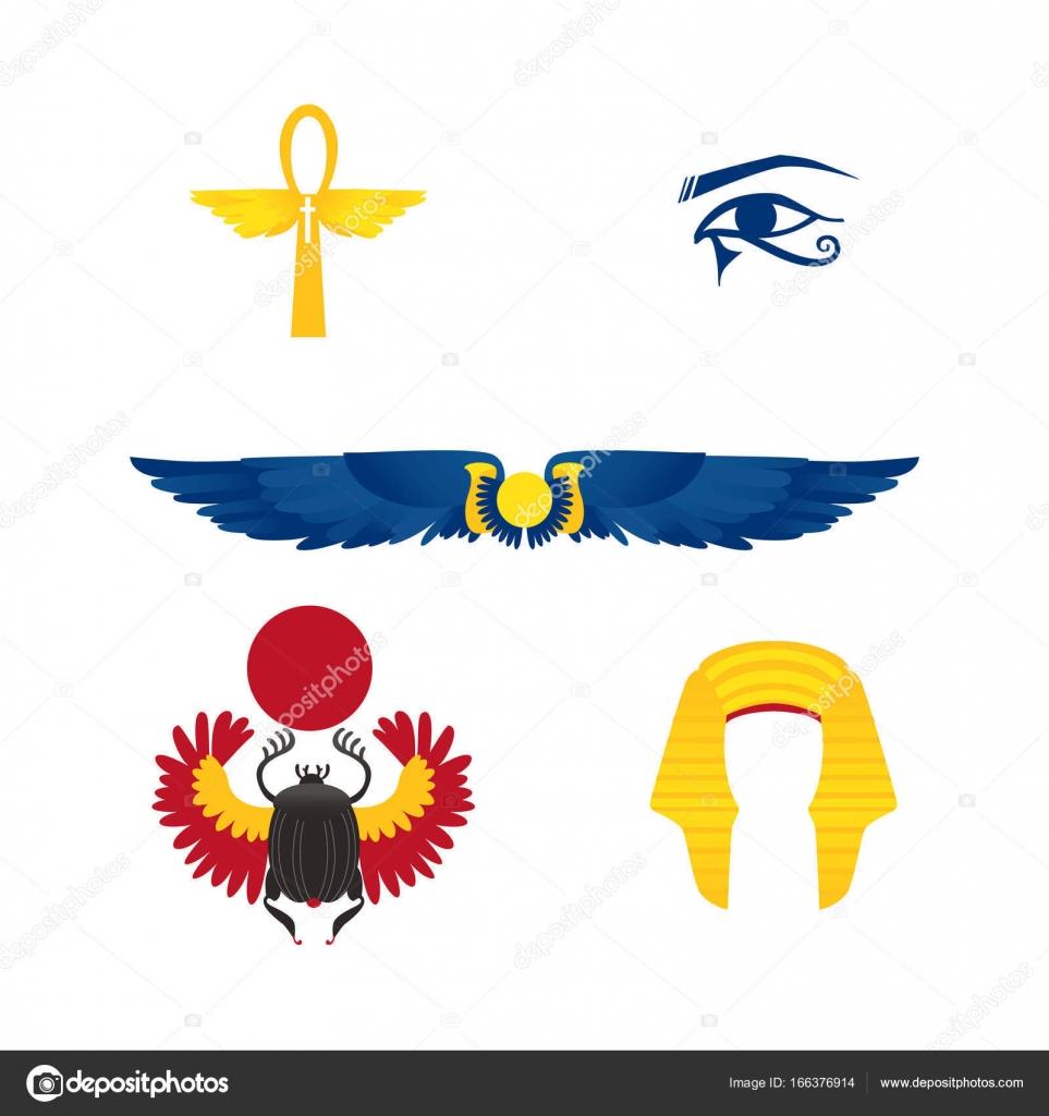 Egypt Symbols Winged Sun Ankh Crown Scarab Stock Vector