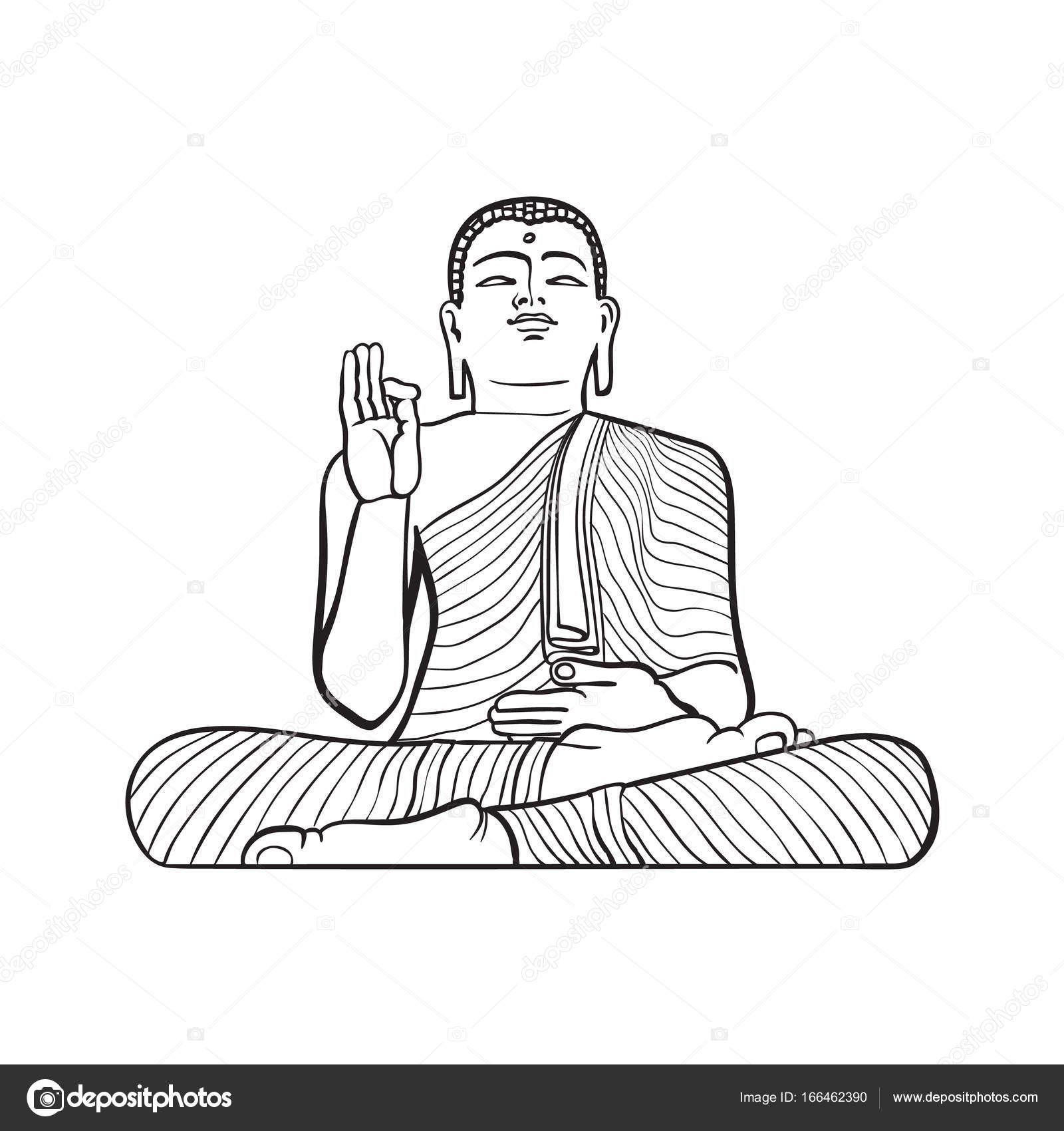 Vector sketch buddha sitting statue isolated stock vector