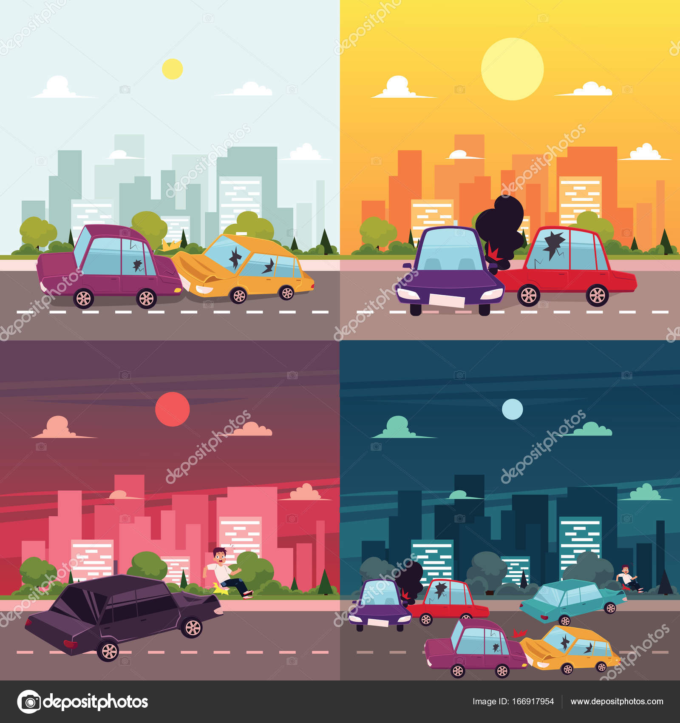 Vektor flache Cartoon Auto Unfallstelle — Stockvektor © Sabelskaya ...