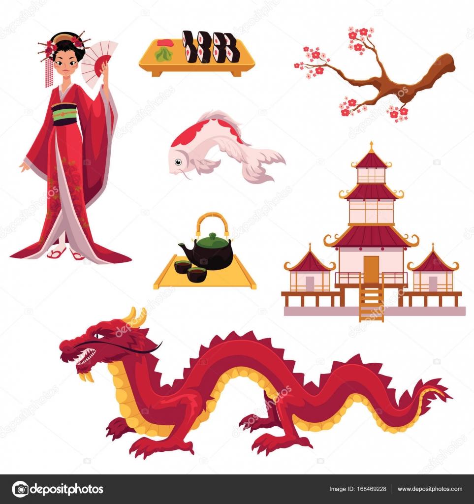Conjunto De Elementos De La Cultura Japonesa De Dibujos Animados