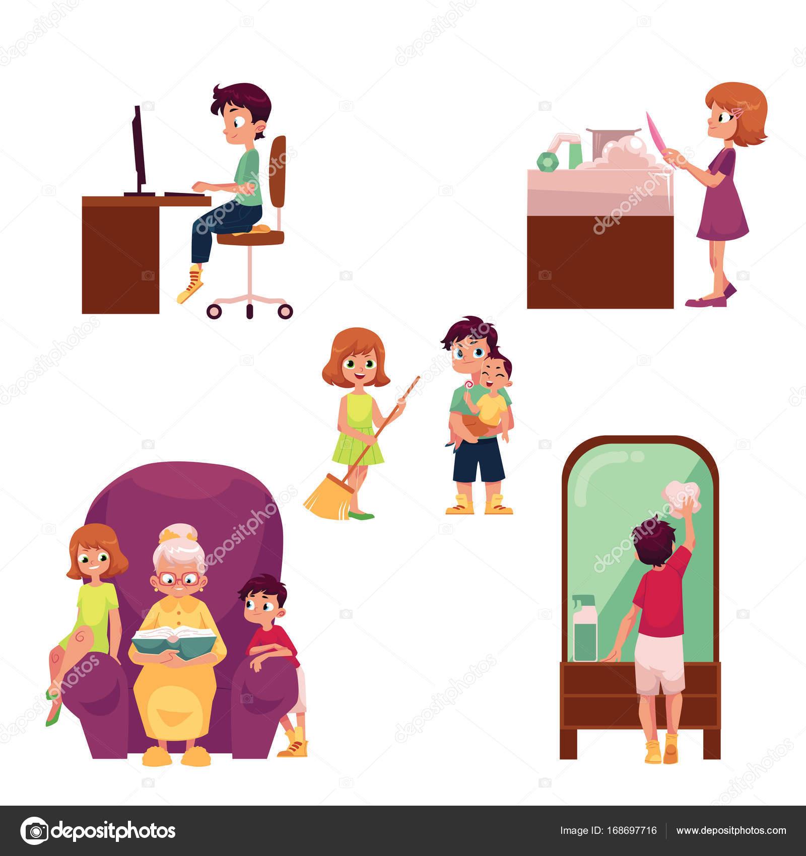 Fabulous Kinderen, kinderen thuis activiteiten, klusjes doen — Stockvector  @QL21