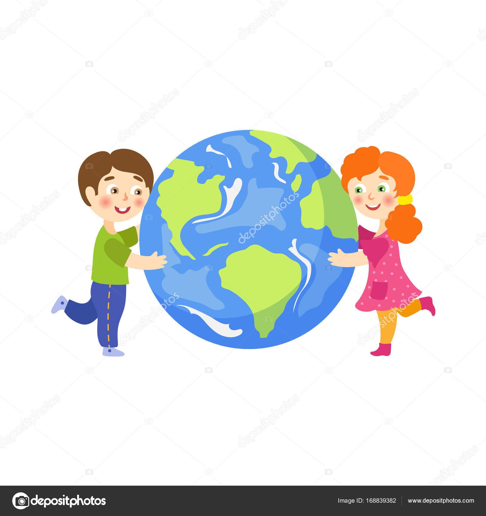 Vector Garçon Fille Hug Caractère Plat De Planète Terre
