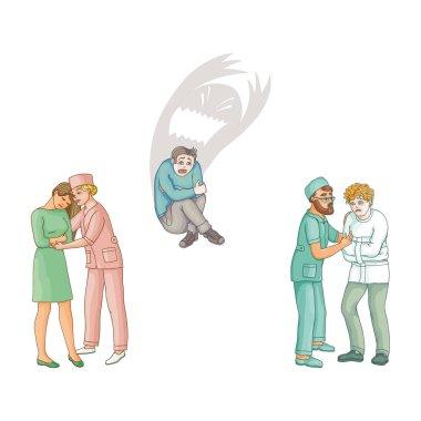 vector flat doctors calming down patients set
