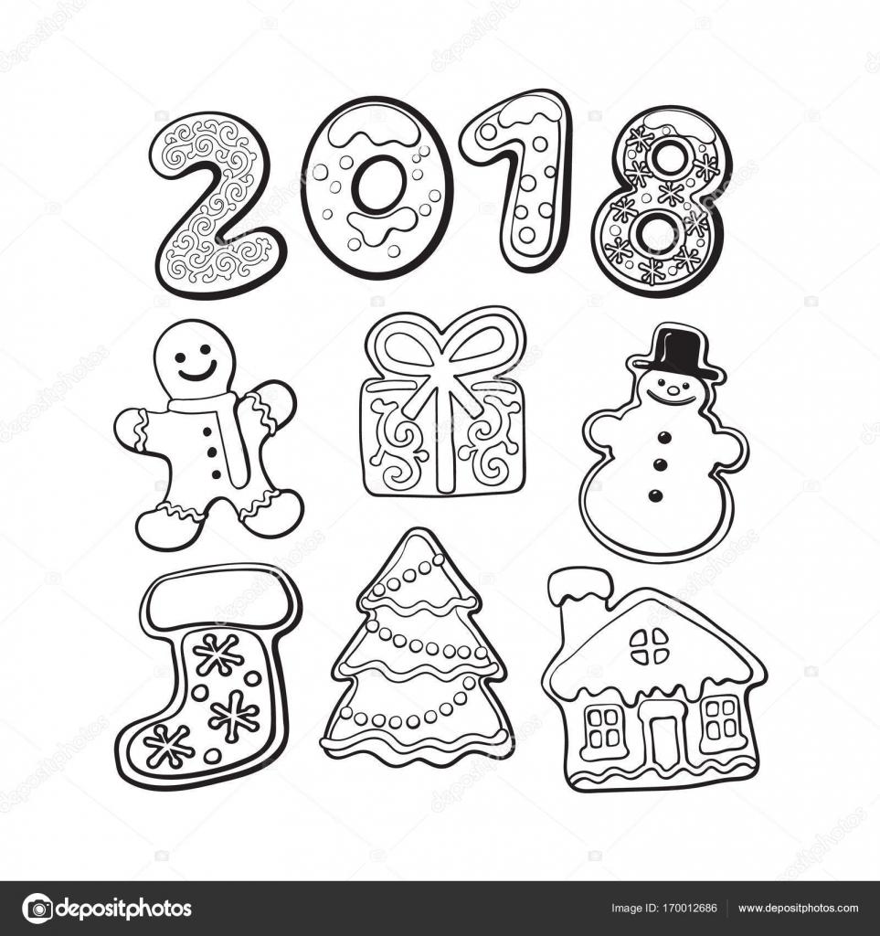 Galletas de pan de jengibre - elementos de la Navidad y 2018 ...
