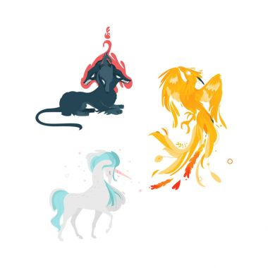 vector flat cartoom myhical animals set