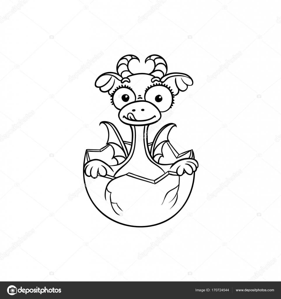 Bébé Dragon Plat De Vecteur Dincubation De Coloriage De Loeuf