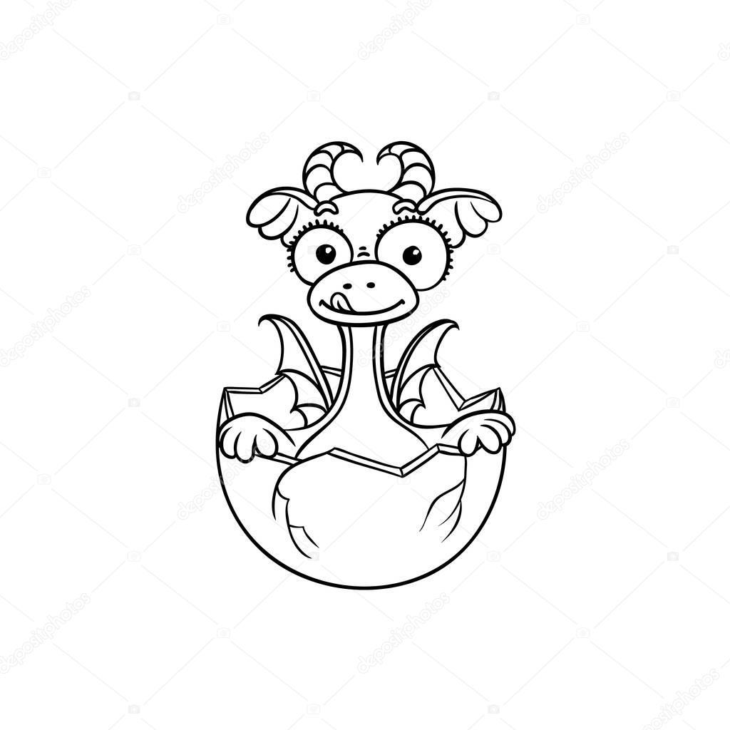 Bambino Drago Piatto Da Cova Da Colorare Uovo Vettoriali Stock