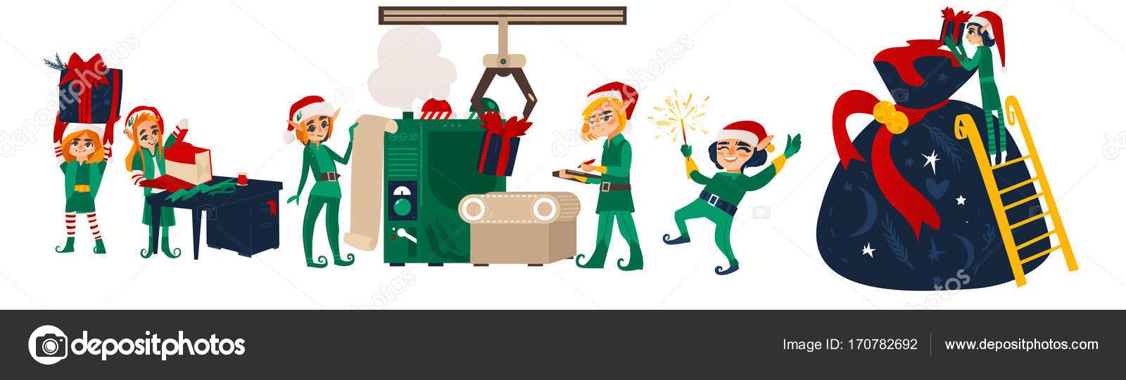 Lutins De Noël Faisant Présente Dans L Atelier De Santa