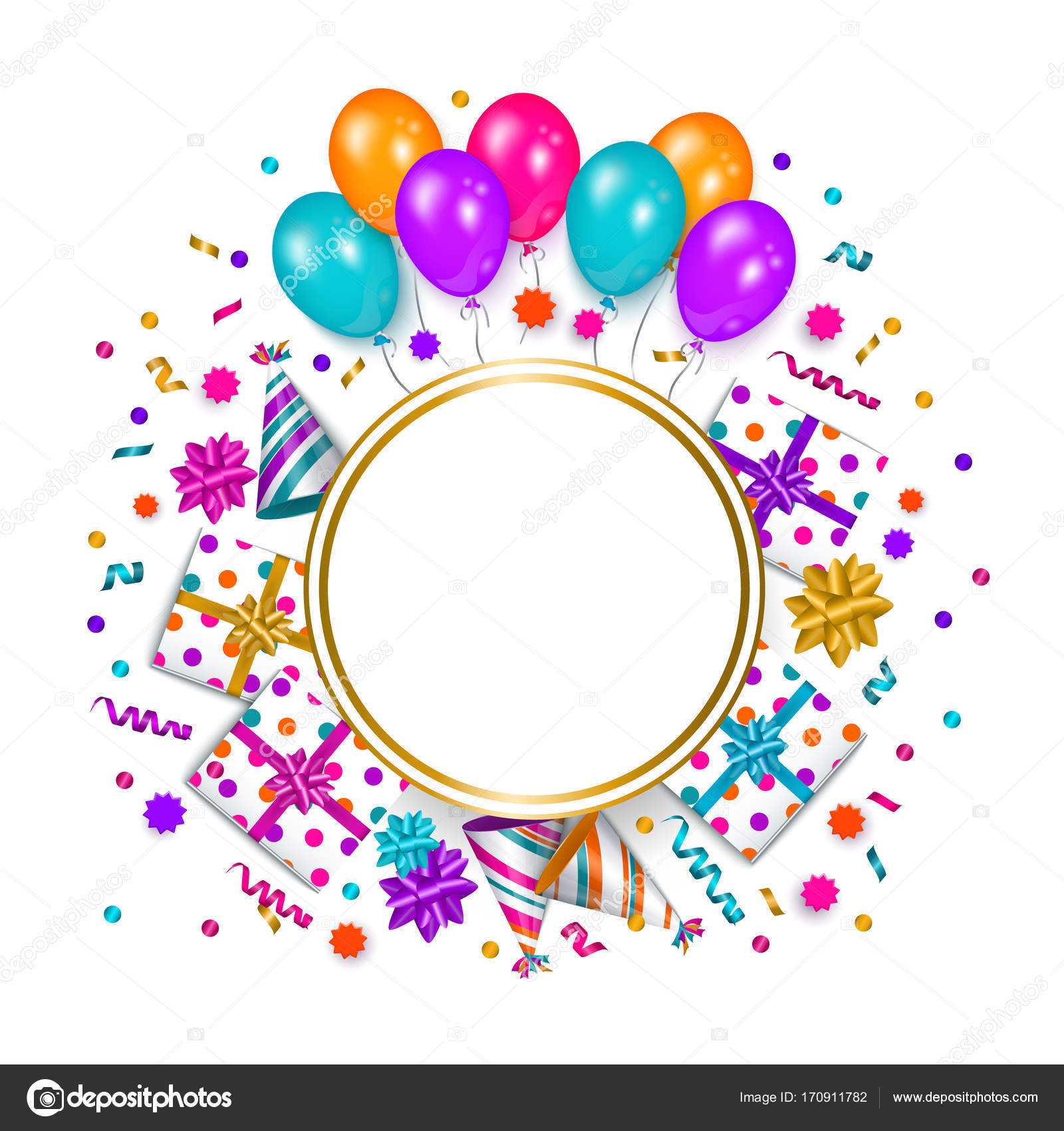 Birthday greeting card banner with space for text stock vector square banner poster greeting card frame birthday party object with empty round space for text vector illustration isolated on white background m4hsunfo