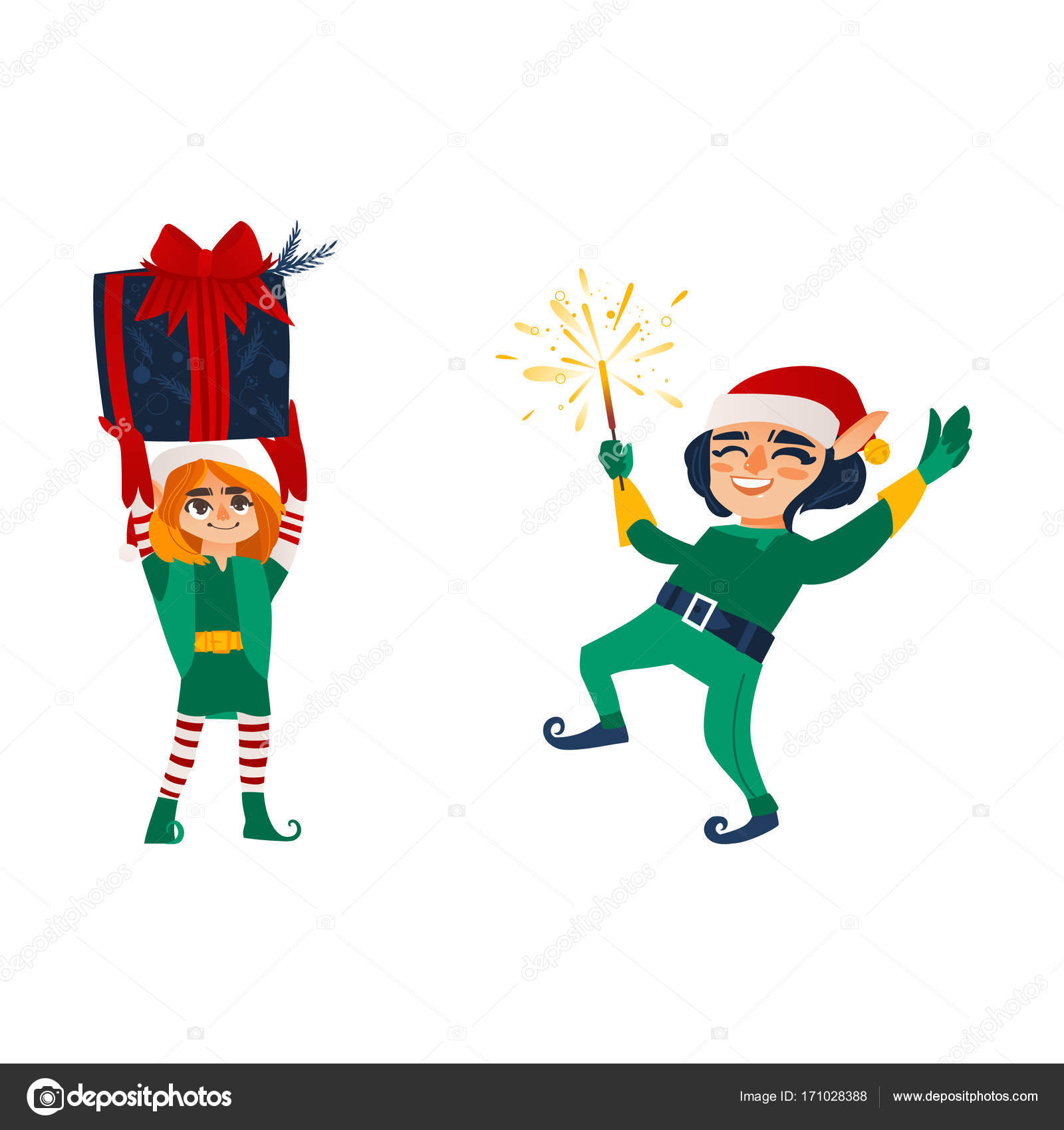 Two Christmas elves with a present and a sparkler — Stock Vector ...