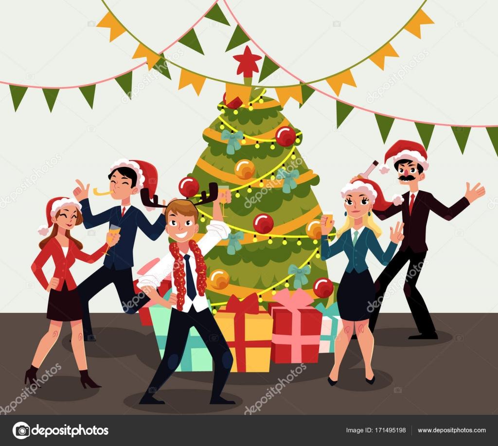 Gente Feliz En Navidad.Gente Feliz Fiesta De Navidad Corporativa Celebrando La