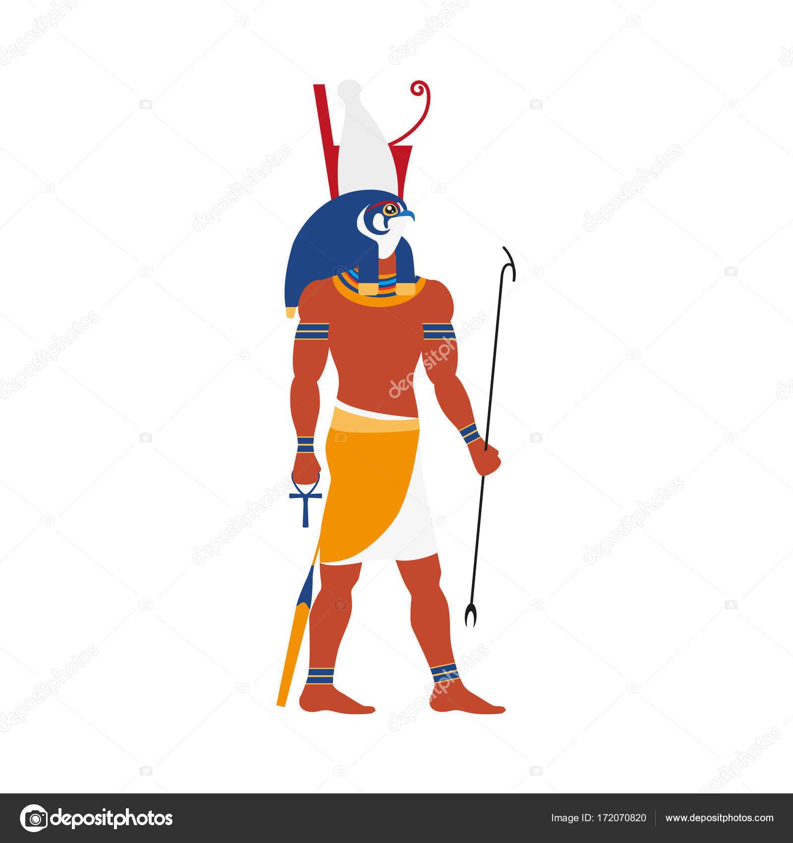 ícone de deus horus egito plana vector vetores de stock