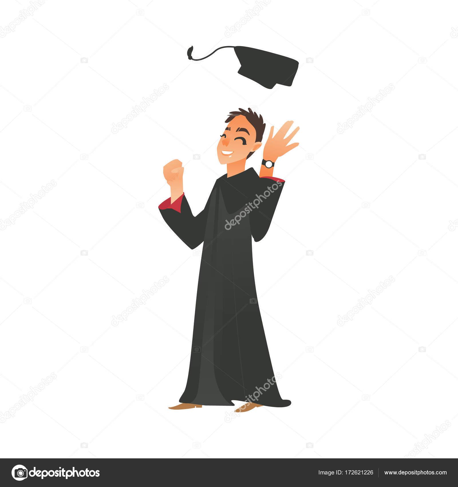 Smiling boy guy in graduation gown throwing cap up — Stock Vector ...