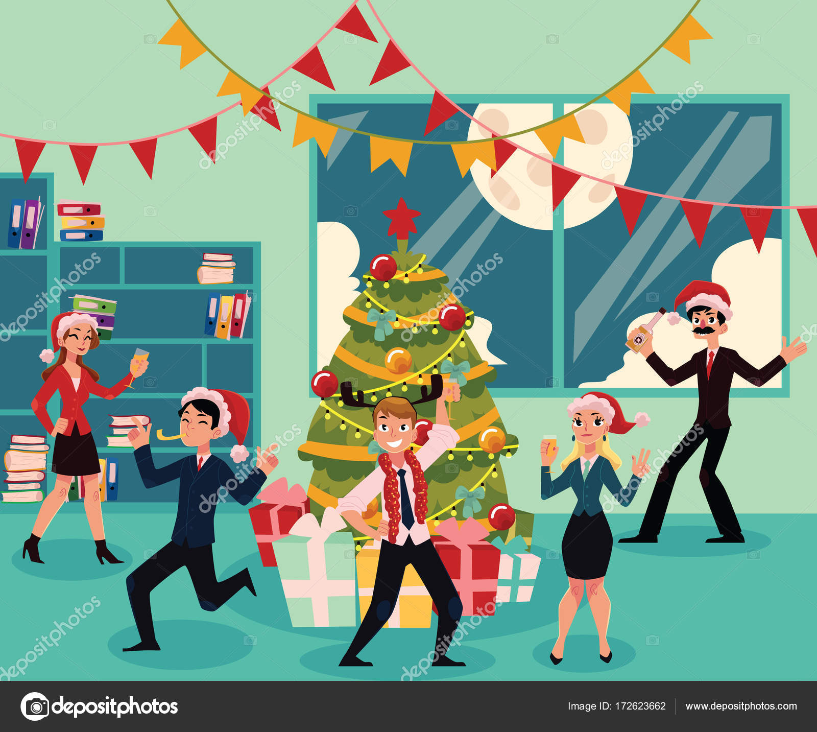 Happy people having corporate Xmas party, celebrating Christmas in ...