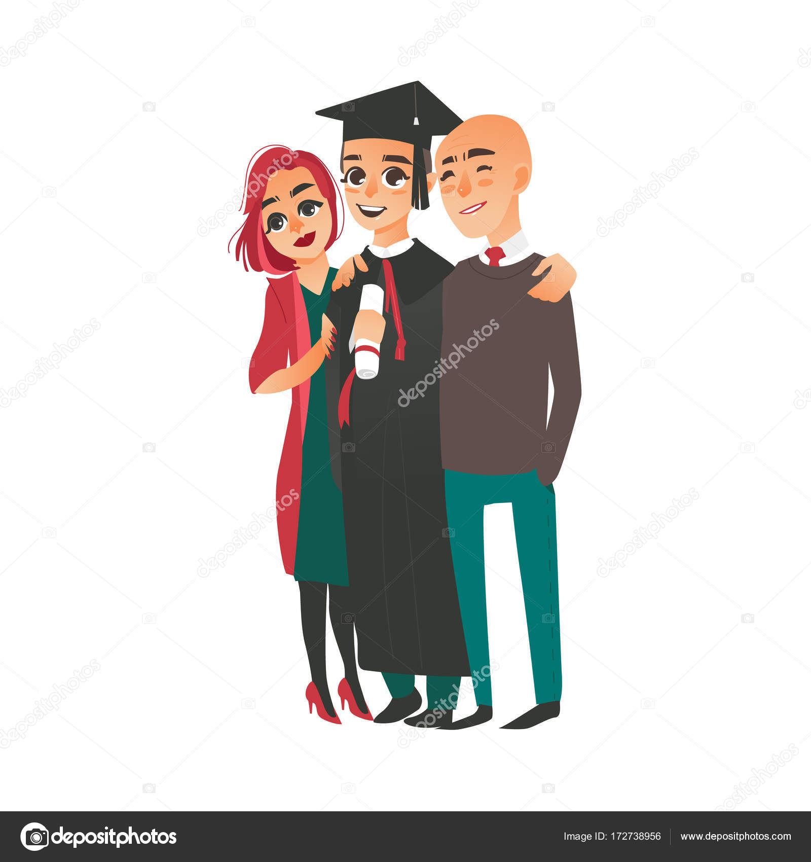 Graduate in cap, gown standing with proud parents — Stock Vector ...