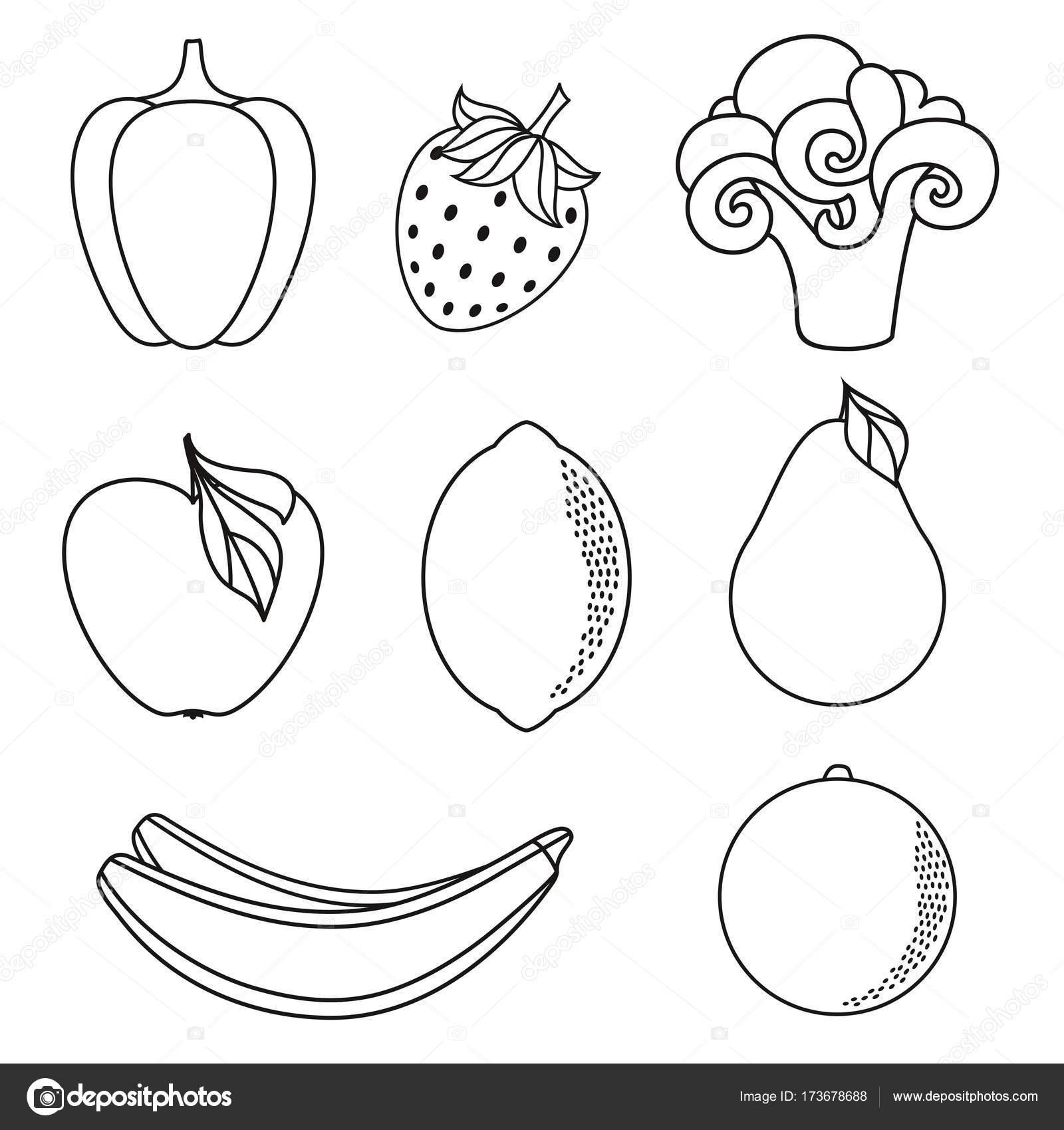 Dibujos Dibujo De Frutas Y Verduras Para Colorear Vector