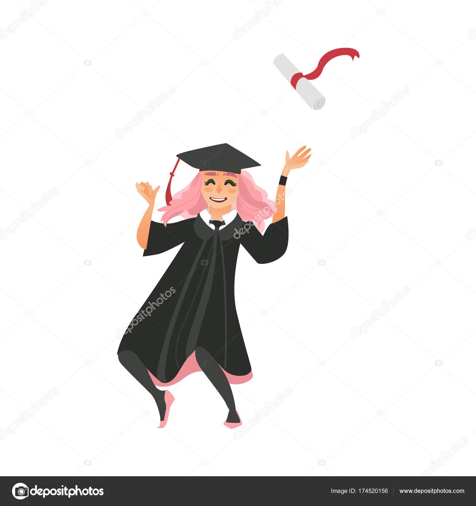 qualité authentique moins cher chaussures classiques Fille au chapeau et robe jette diplôme vers le haut — Image ...