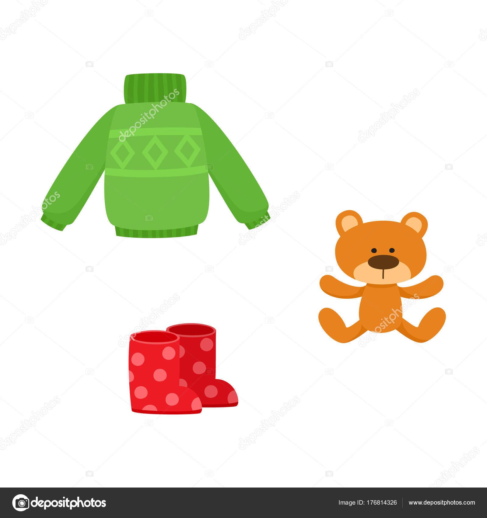 Piatto ragazza ragazzo bambino vestito abbigliamento outdoor di vettore -  verde a maglia caldo pullover e rosso stivali di gomma punteggiato e il  giocattolo ... efad100ce28