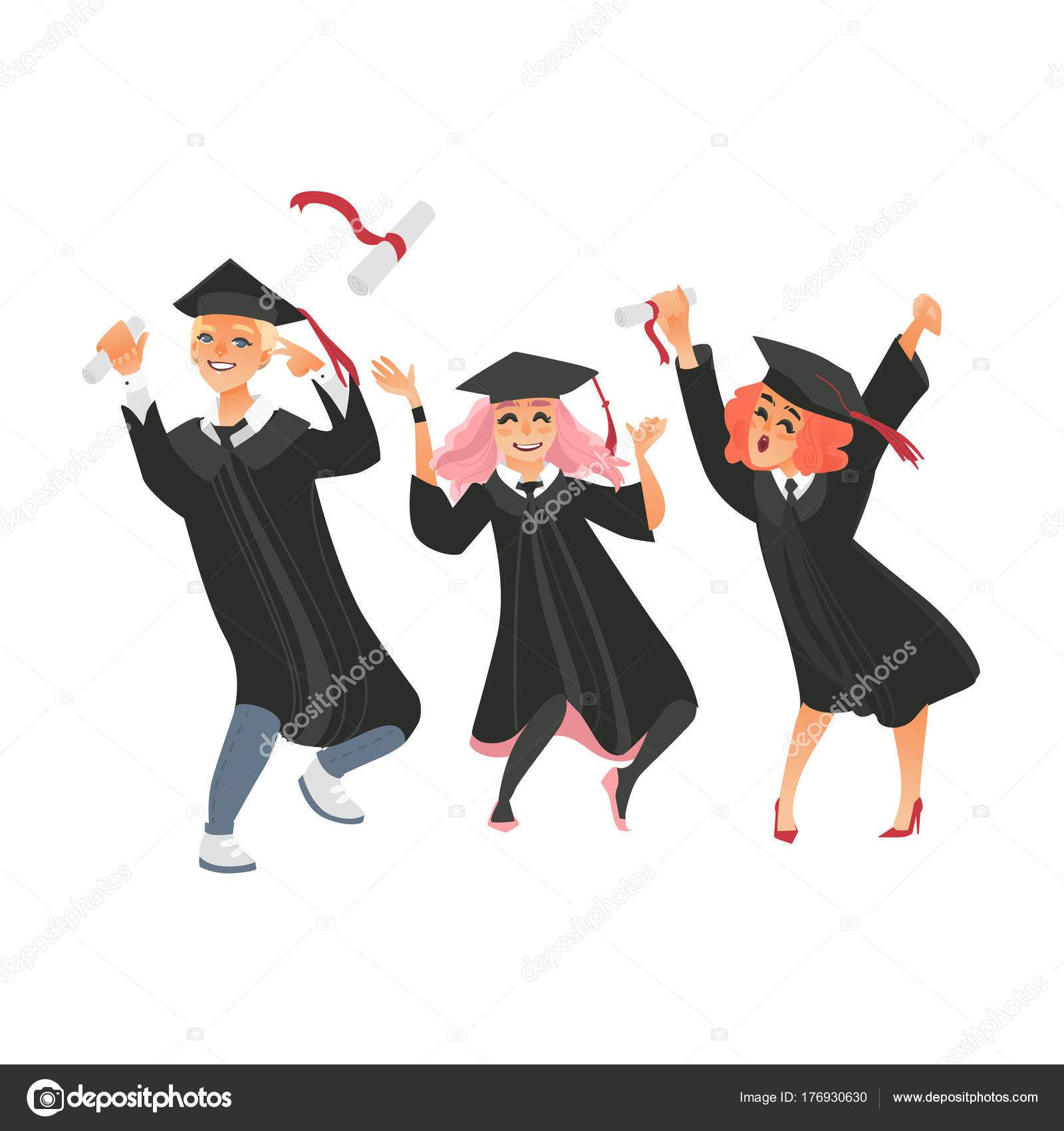 Gaduates in cap and gown throwing diplomas up — Stock Vector ...