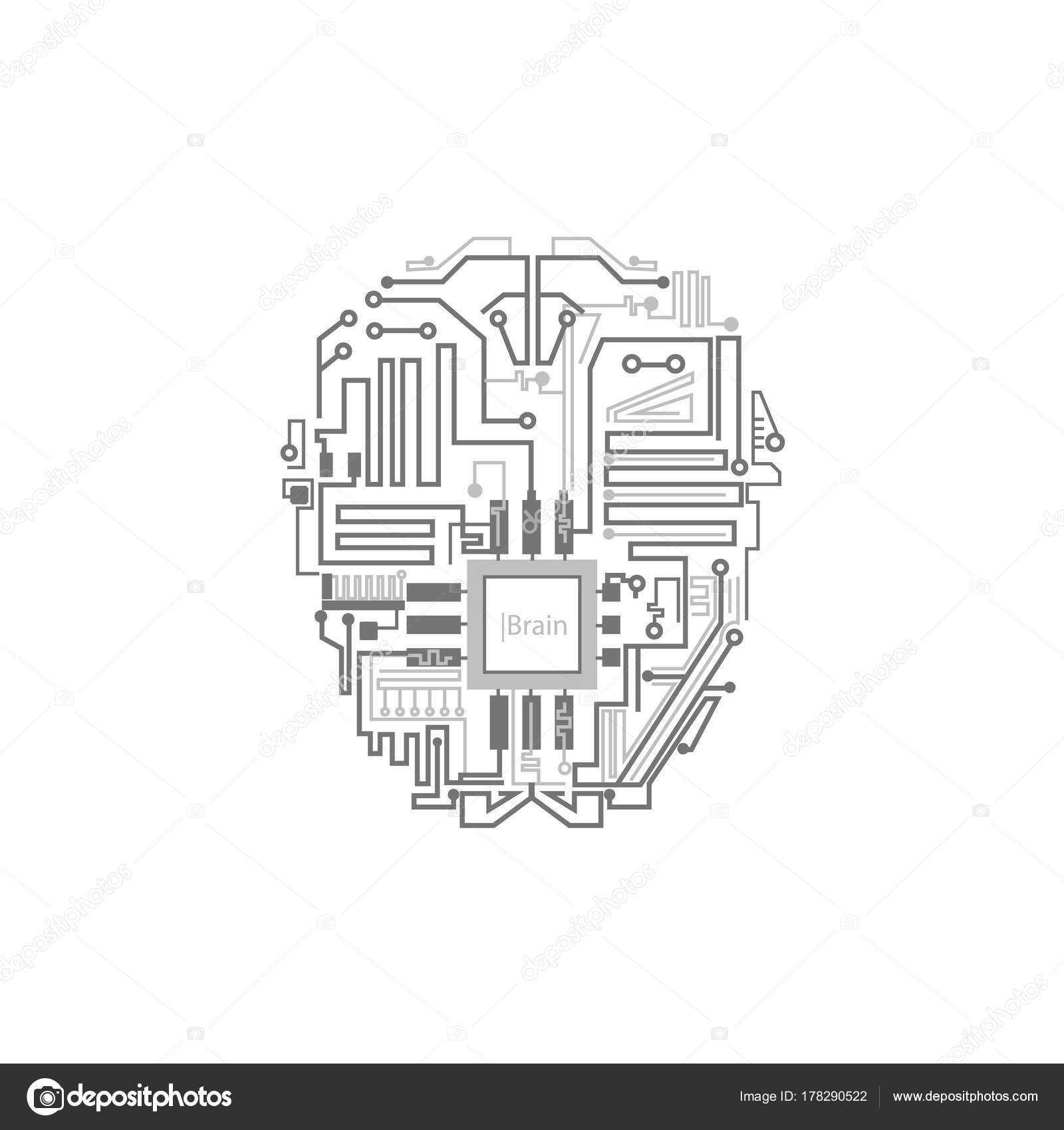 Cervello del robot mostrato come schema di circuito digitale ...