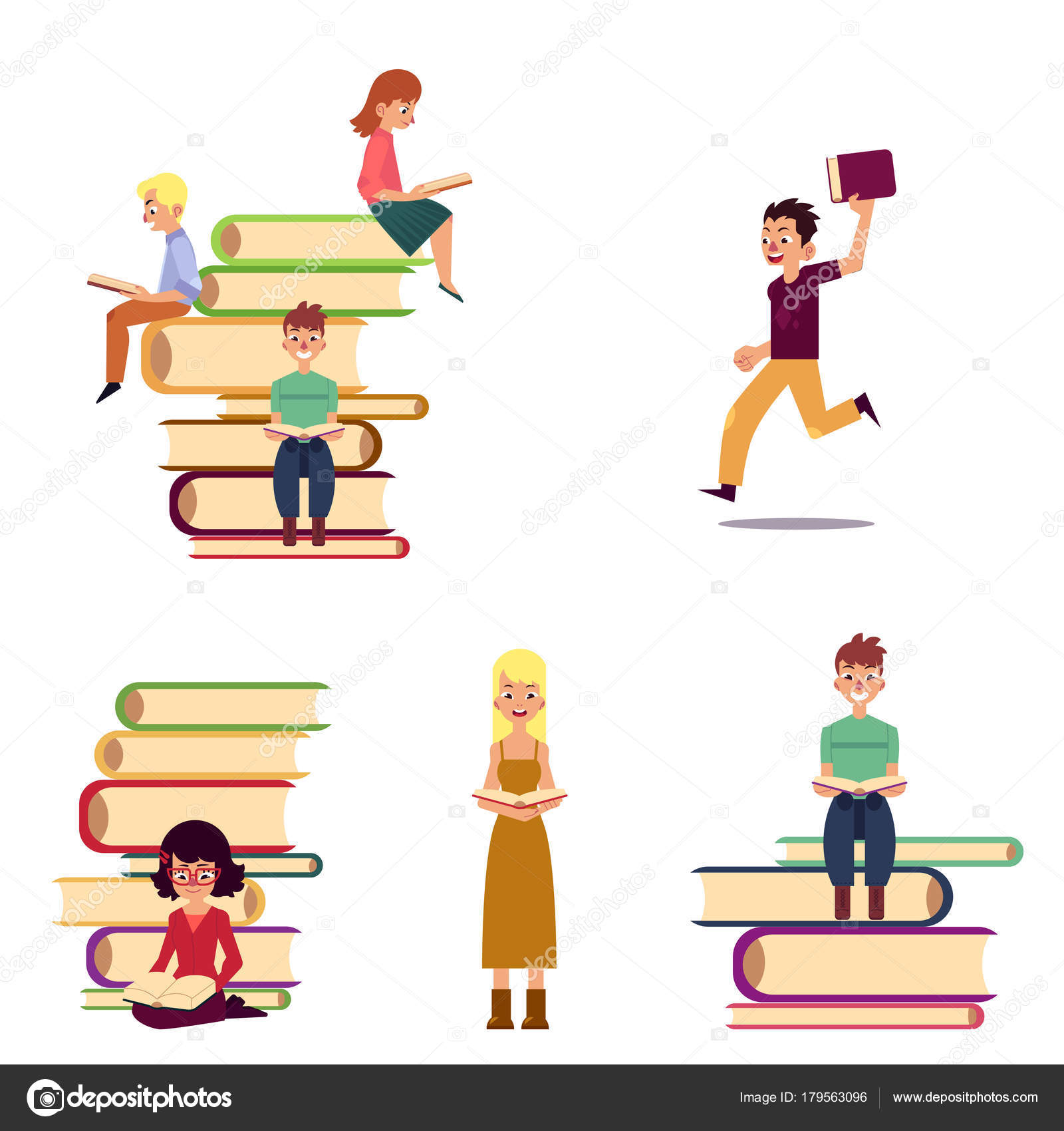Cartoon Set Of Reading People And Giant Books Stock Vector