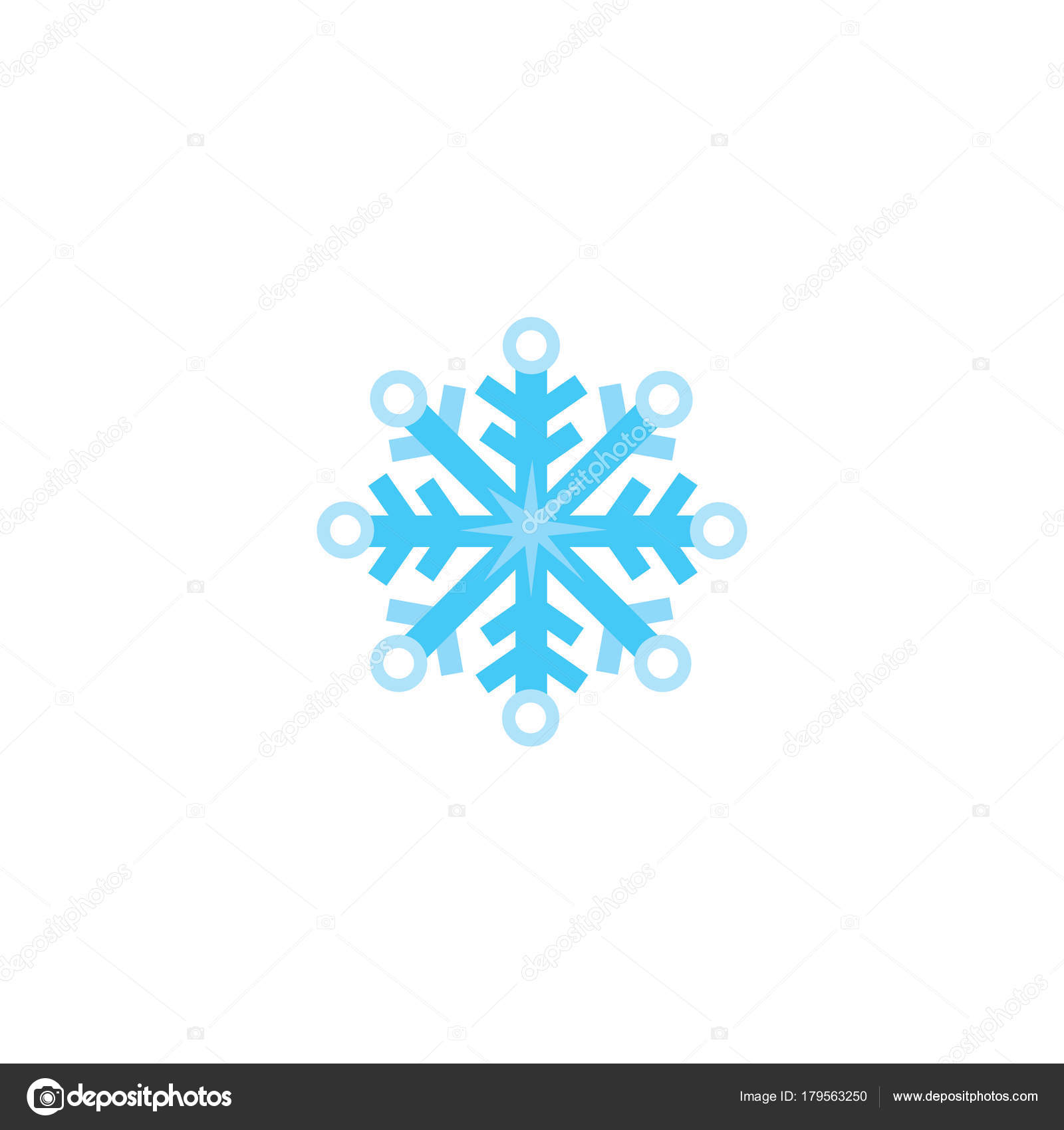 flocon de neige plat de dessin animé hiver symbole de noël image