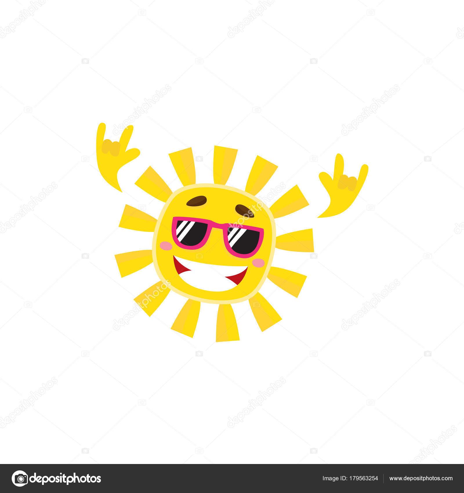 4dc111551e40 Счастливый рок-н-ролл символ солнца в солнцезащитные очки — стоковый вектор
