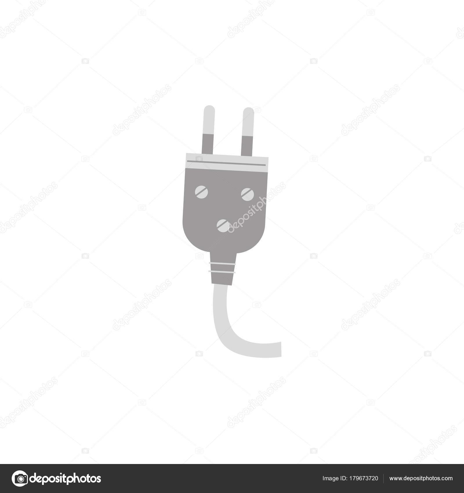 Vektor flach elektrischen Draht, Kabel mit Stecker Symbol ...