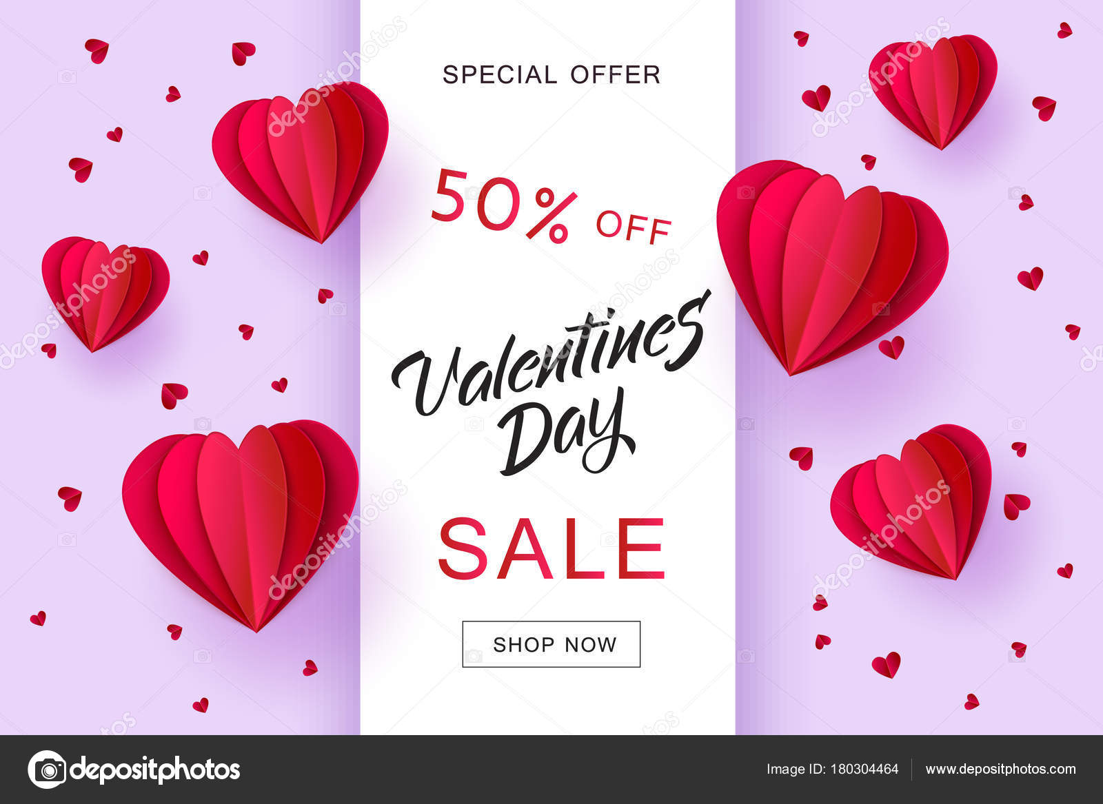 2bbec57b7a Vector valentines day sale card template with origami paper hot air  balloons in heart shape background. Holiday illustration on purple  background for poster ...