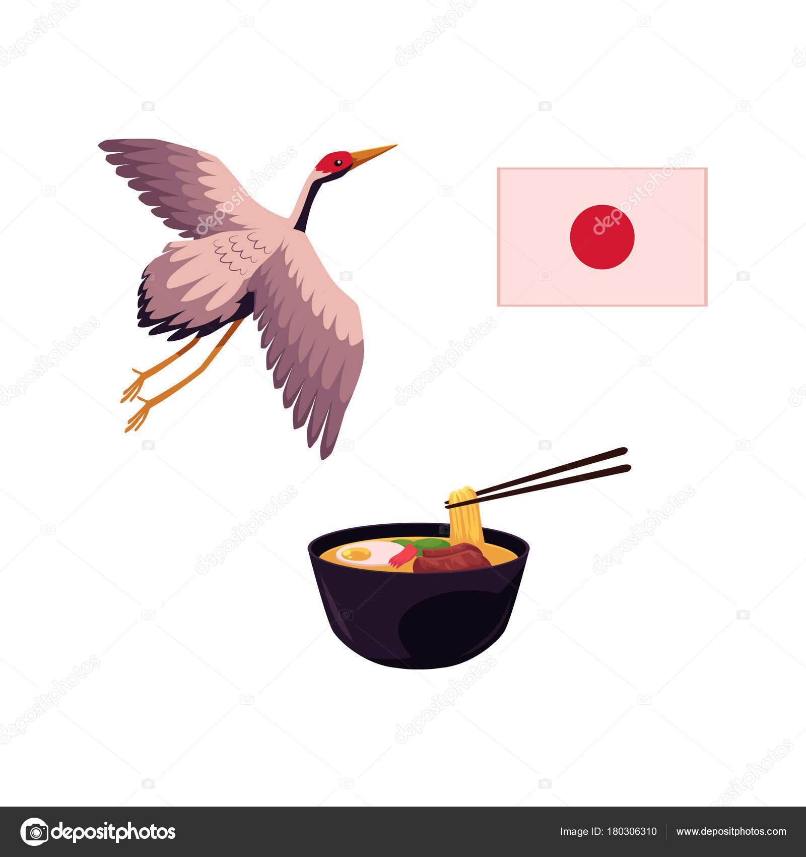 Japanische Flagge Kran Vogel und Ramen-Suppe — Stockvektor ...