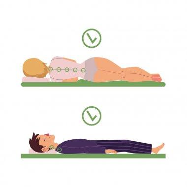 vector correct sleeping posture of man, woman