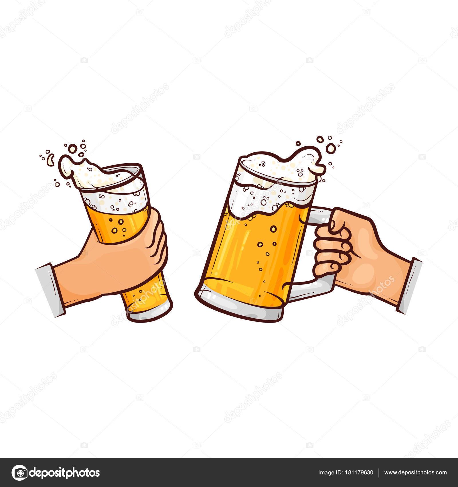 vetor desenhos animados de mãos com copos de cerveja brindando