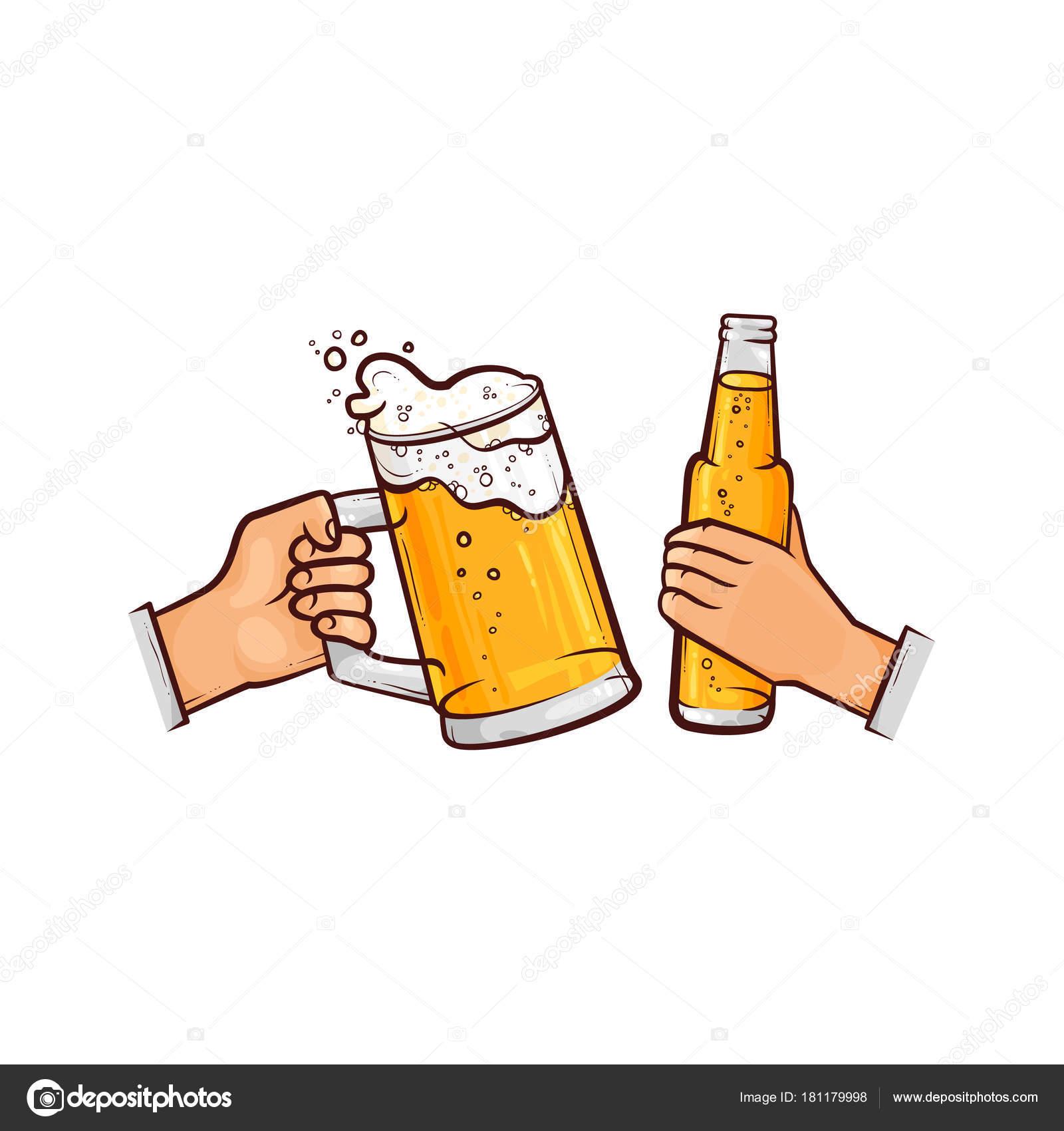 vector mãos com copo de cerveja garrafa brindando vetor de stock