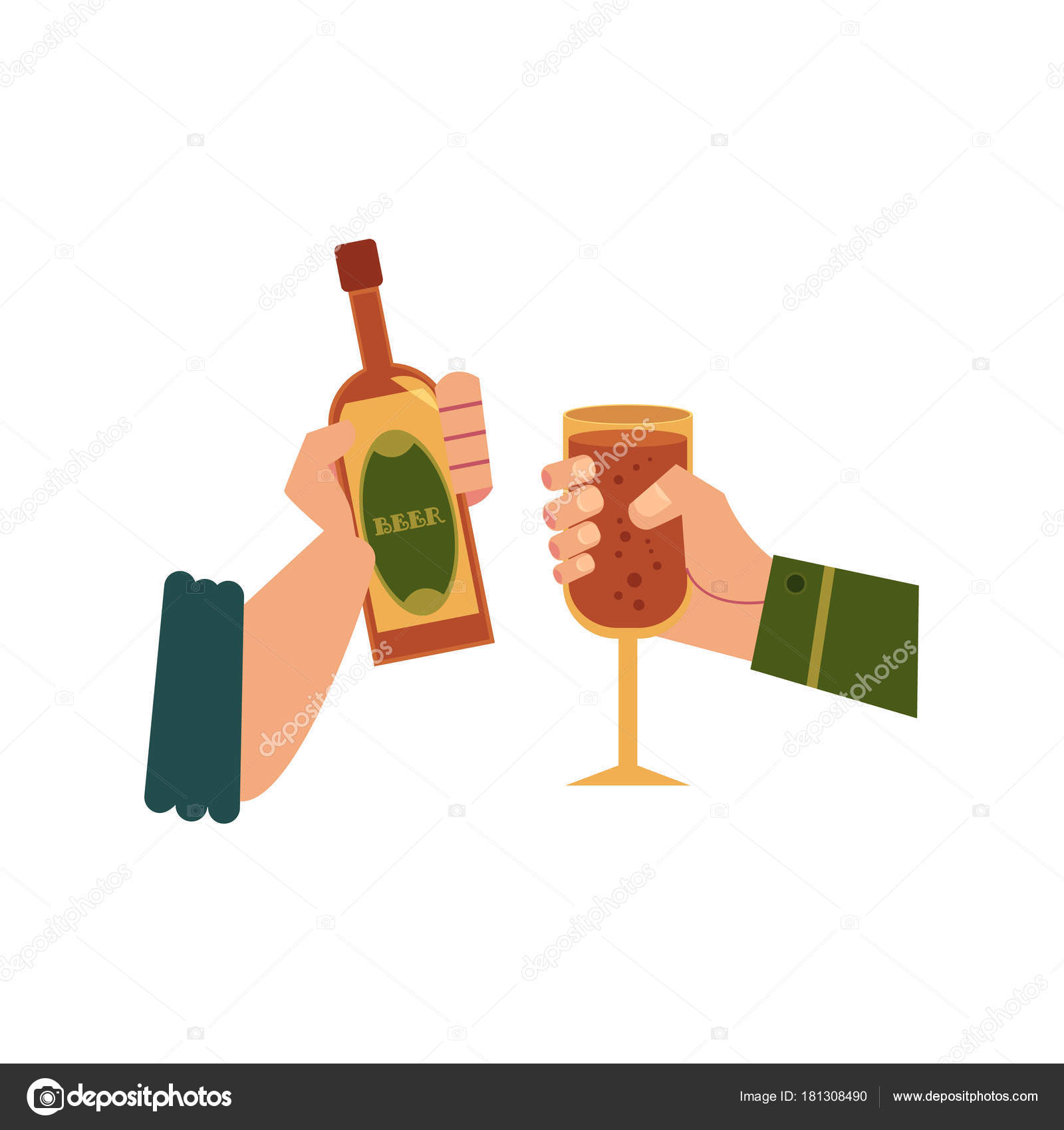 vector mãos com copo de bebida garrafa brindando vetores de stock