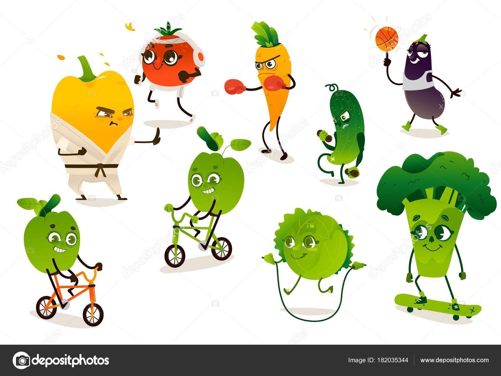 Conjunto De Legumes Engraçados Fazendo Exercícios De