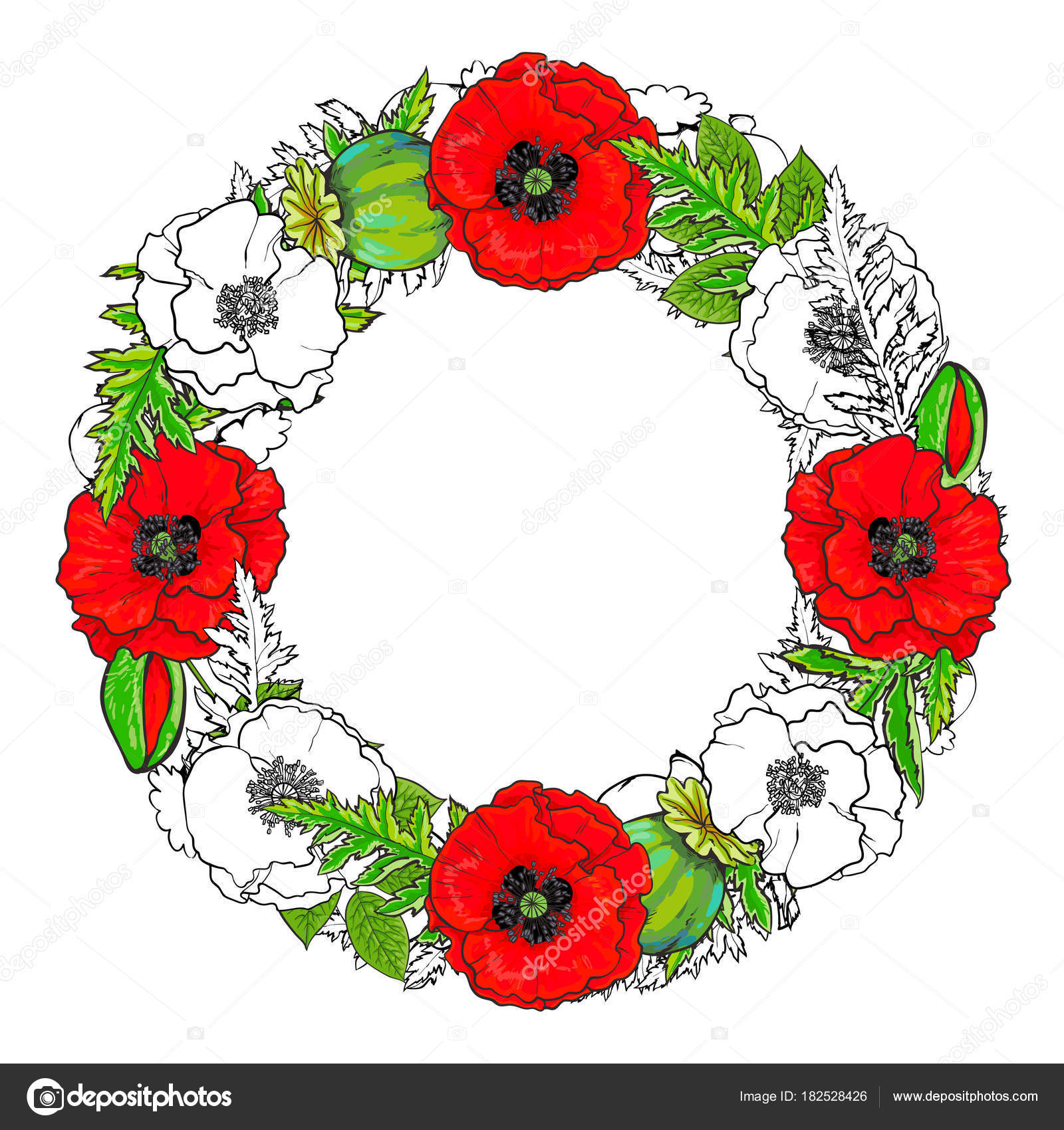 Marco redondo de amapolas flores, brotes y hojas — Vector de stock ...