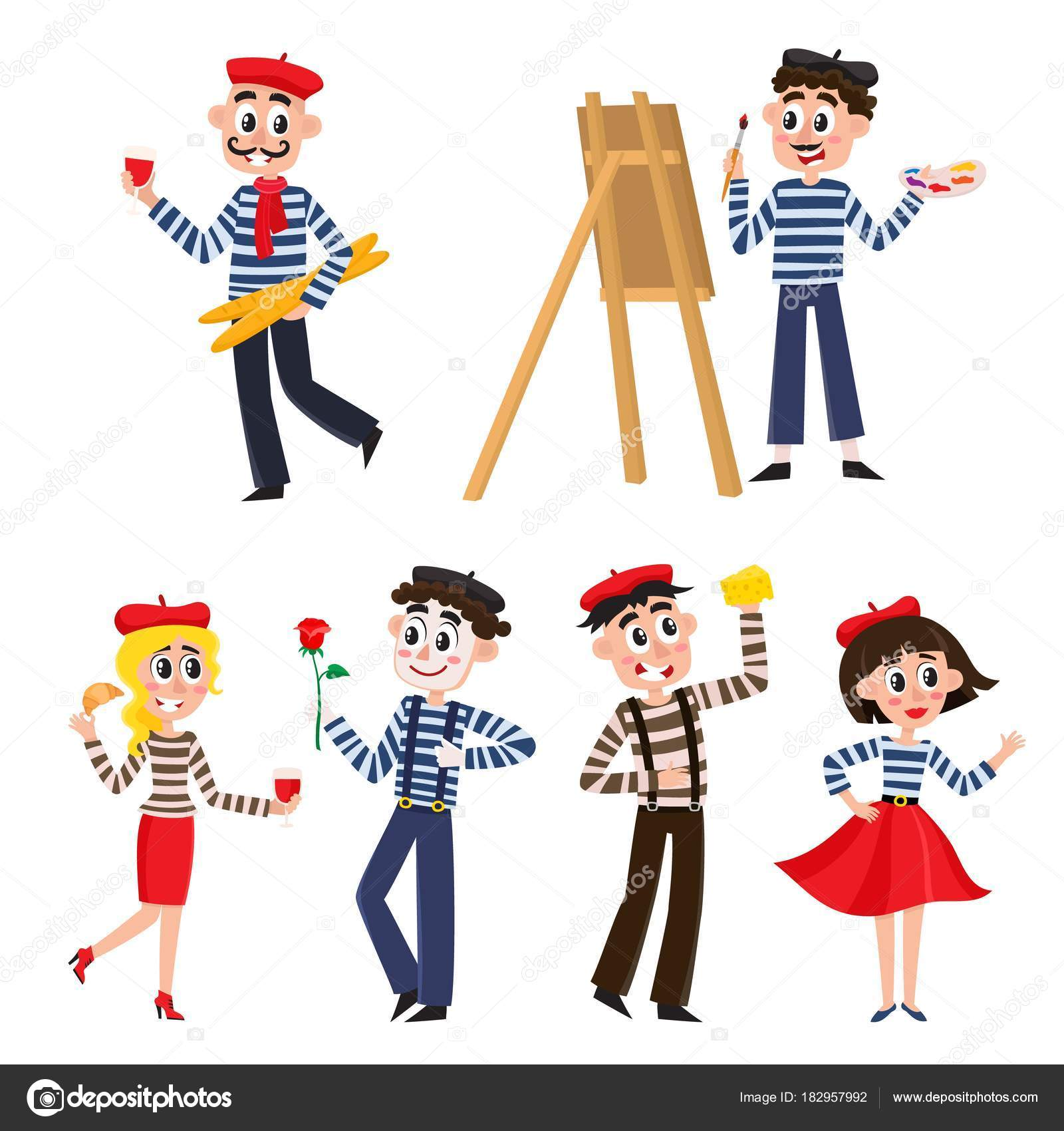 set of funny french people mimes artist food stock vector rh depositphotos com French Country Clip Art French Icons Clip Art