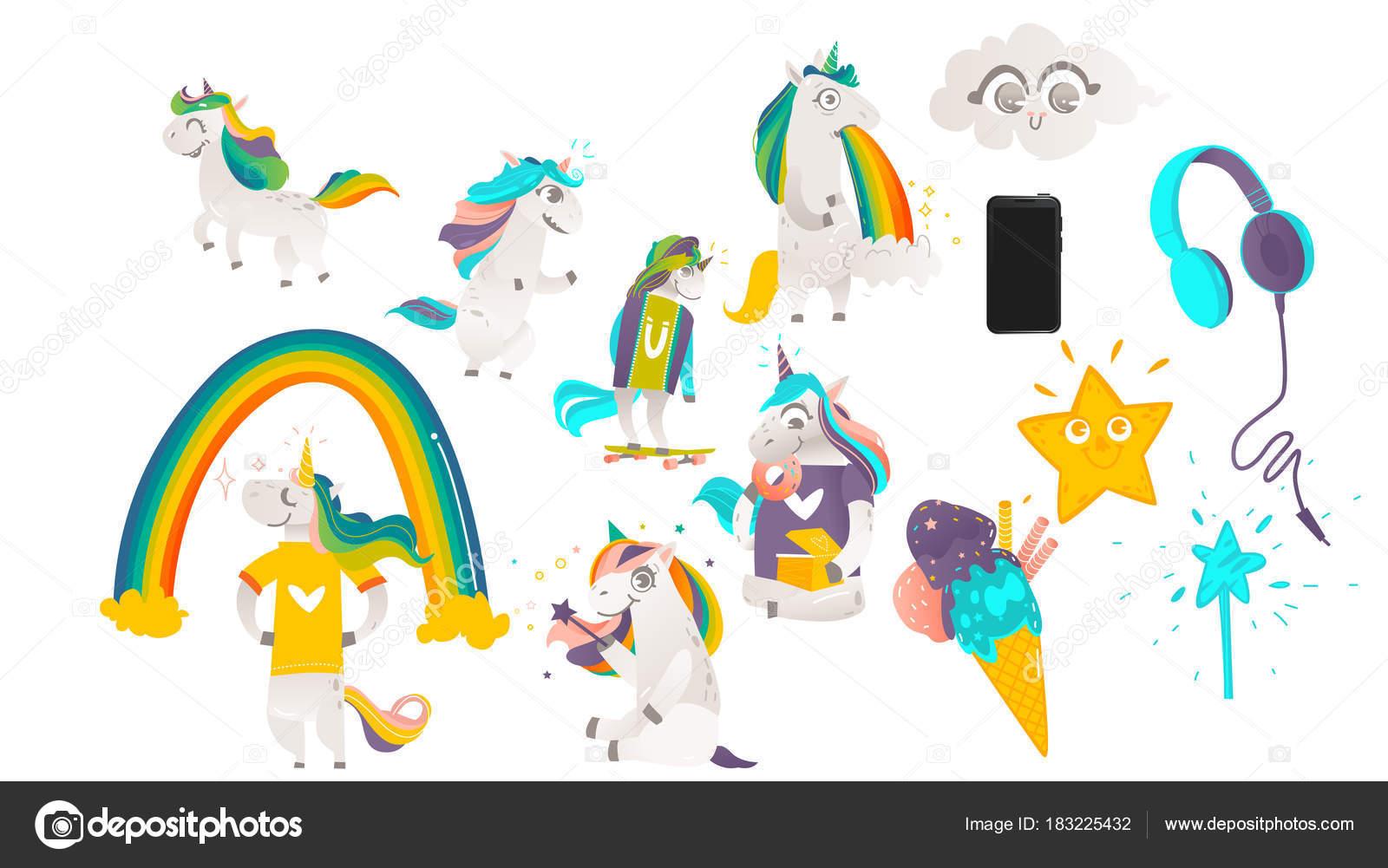 Conjunto De Objetos Mágicos Unicornios De Dibujos