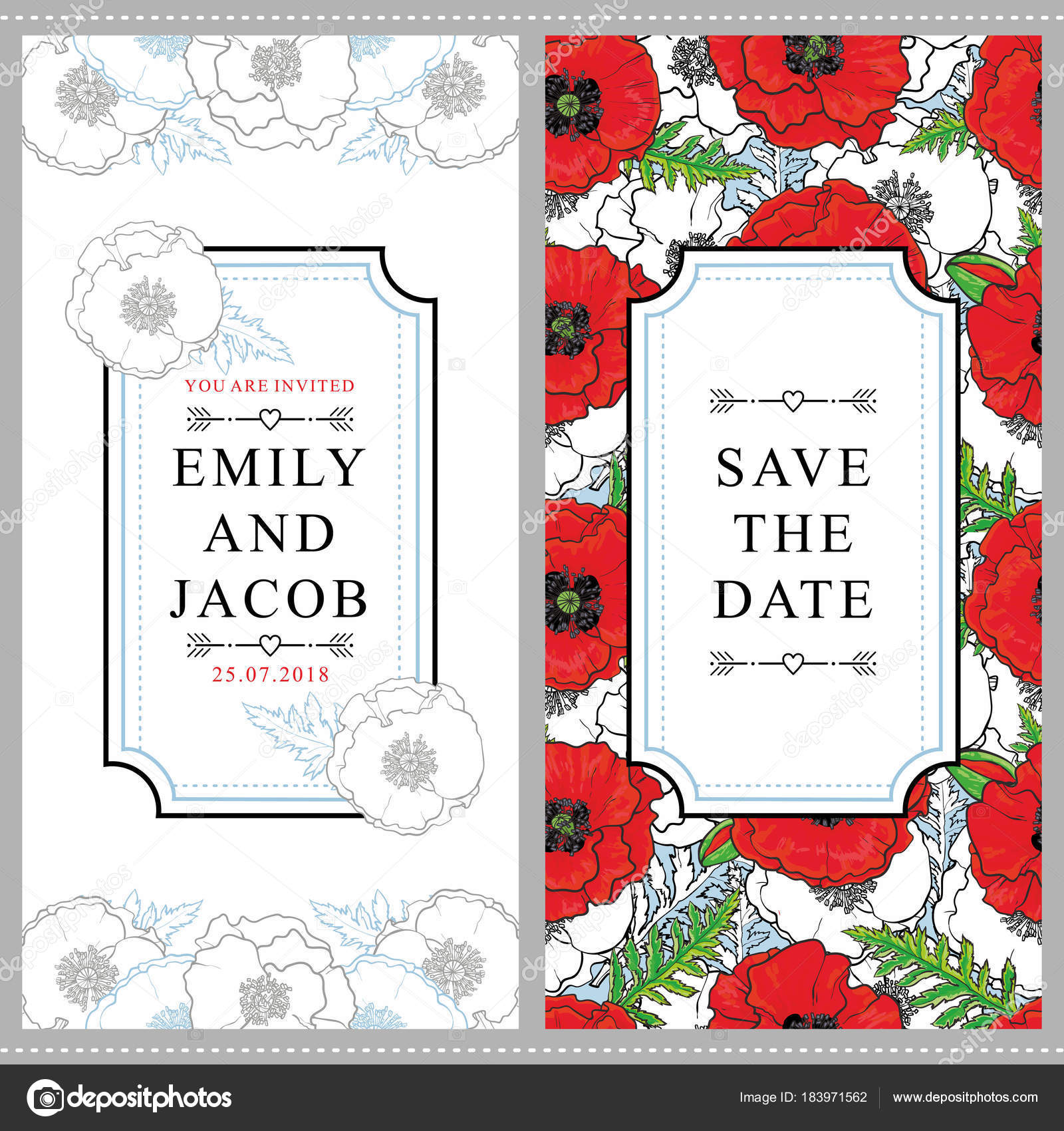 Two wedding invitation templates with poppies — Stock Vector ...