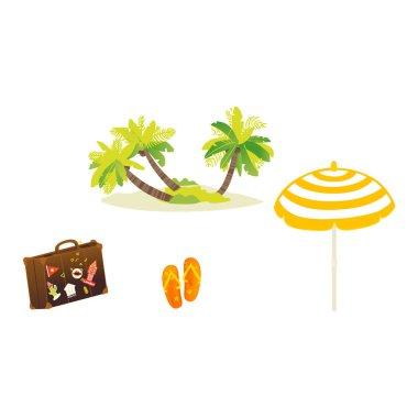 Vector flat travelling beach vacation symbols icon