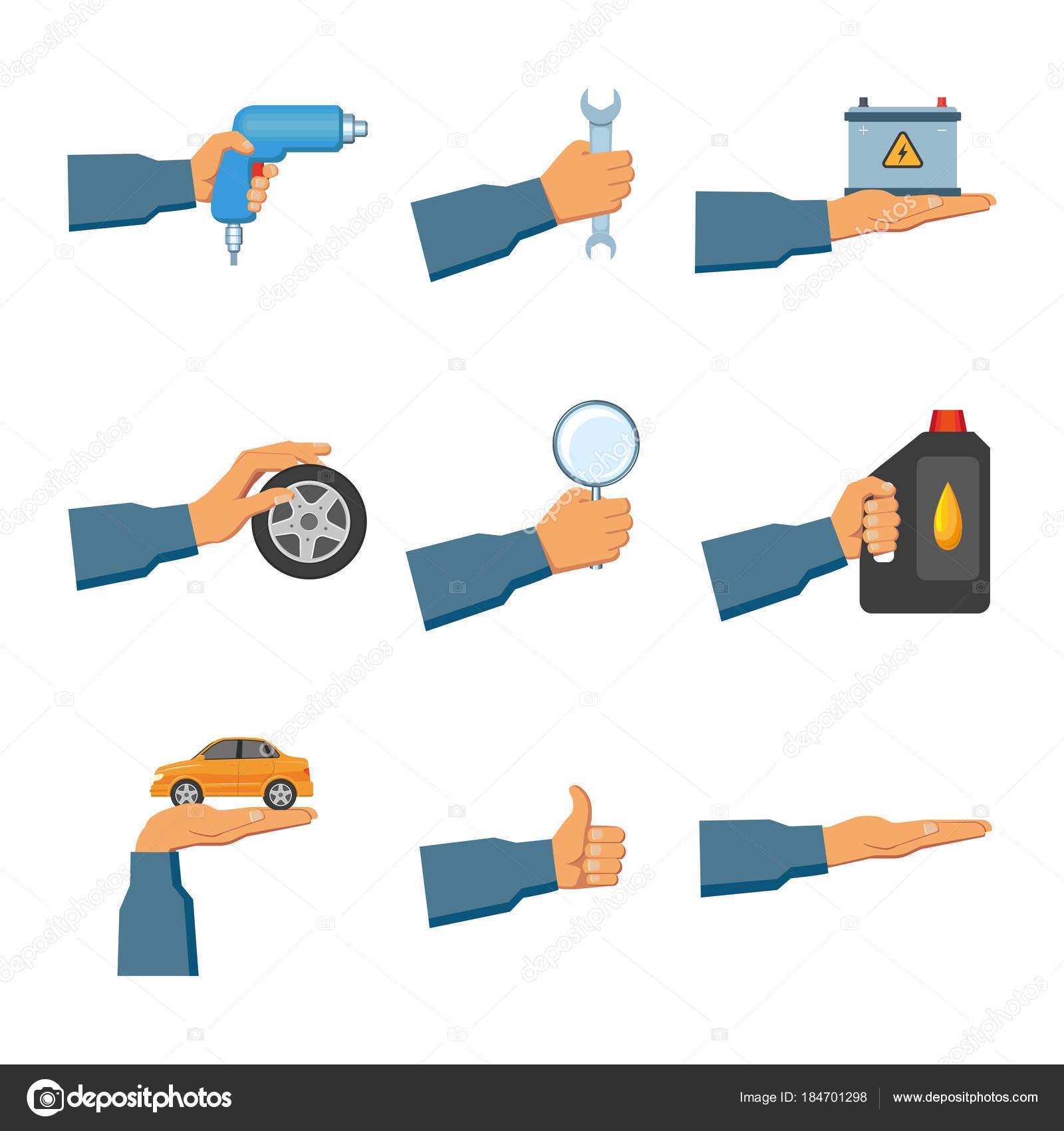 Sistema de auto servicio, los iconos de mantenimiento con las manos ...
