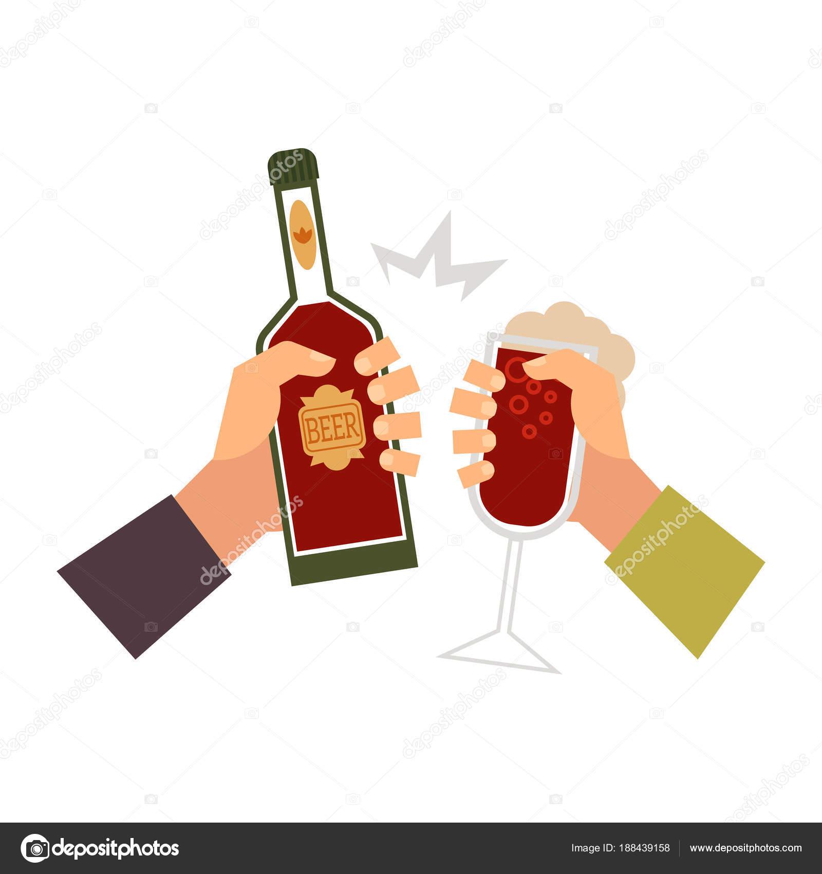 vector mãos com copo de bebida garrafa brindando vetor de stock