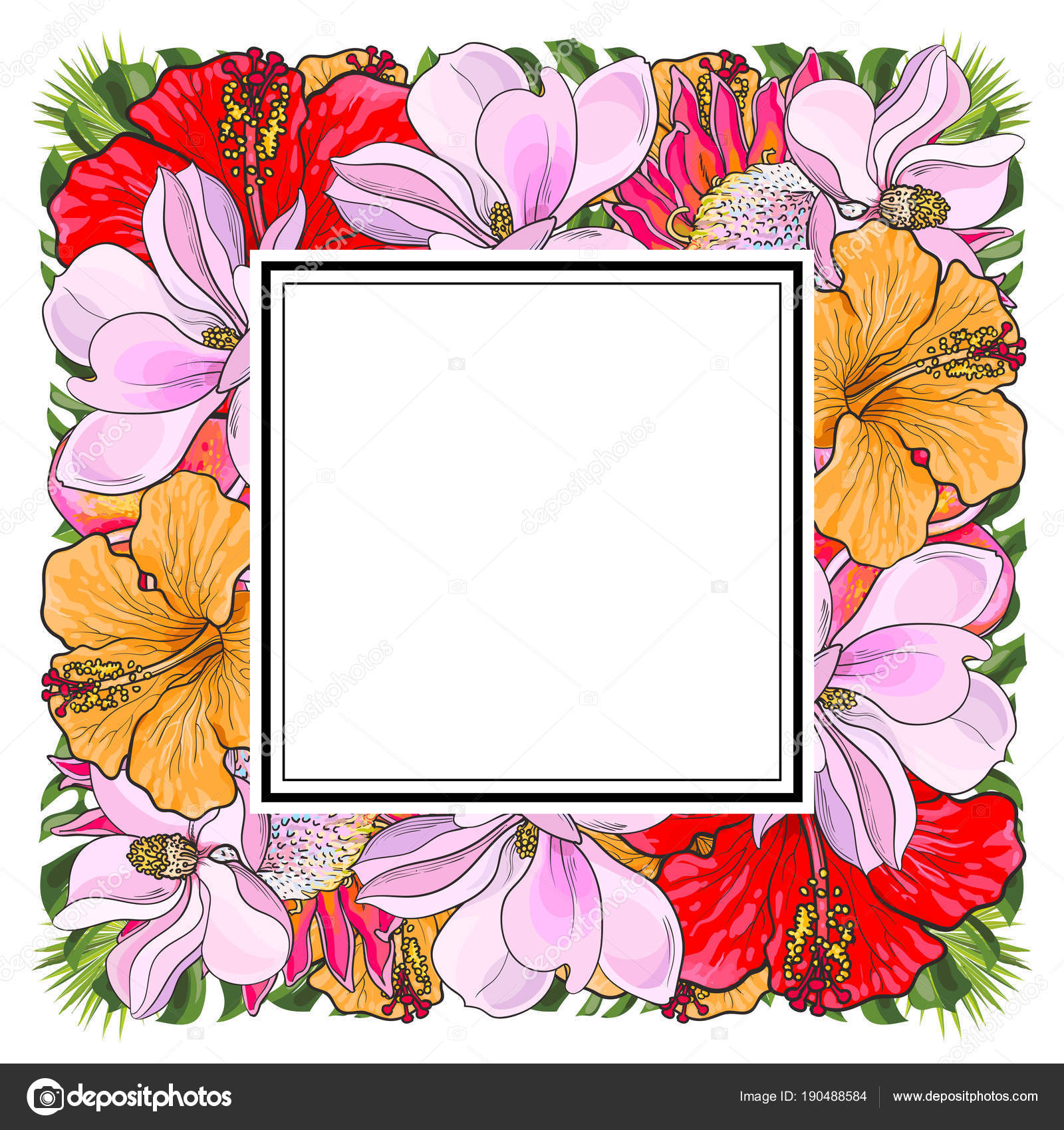 Tropical Flowers And Palm Leaves In Floral Composition In Square