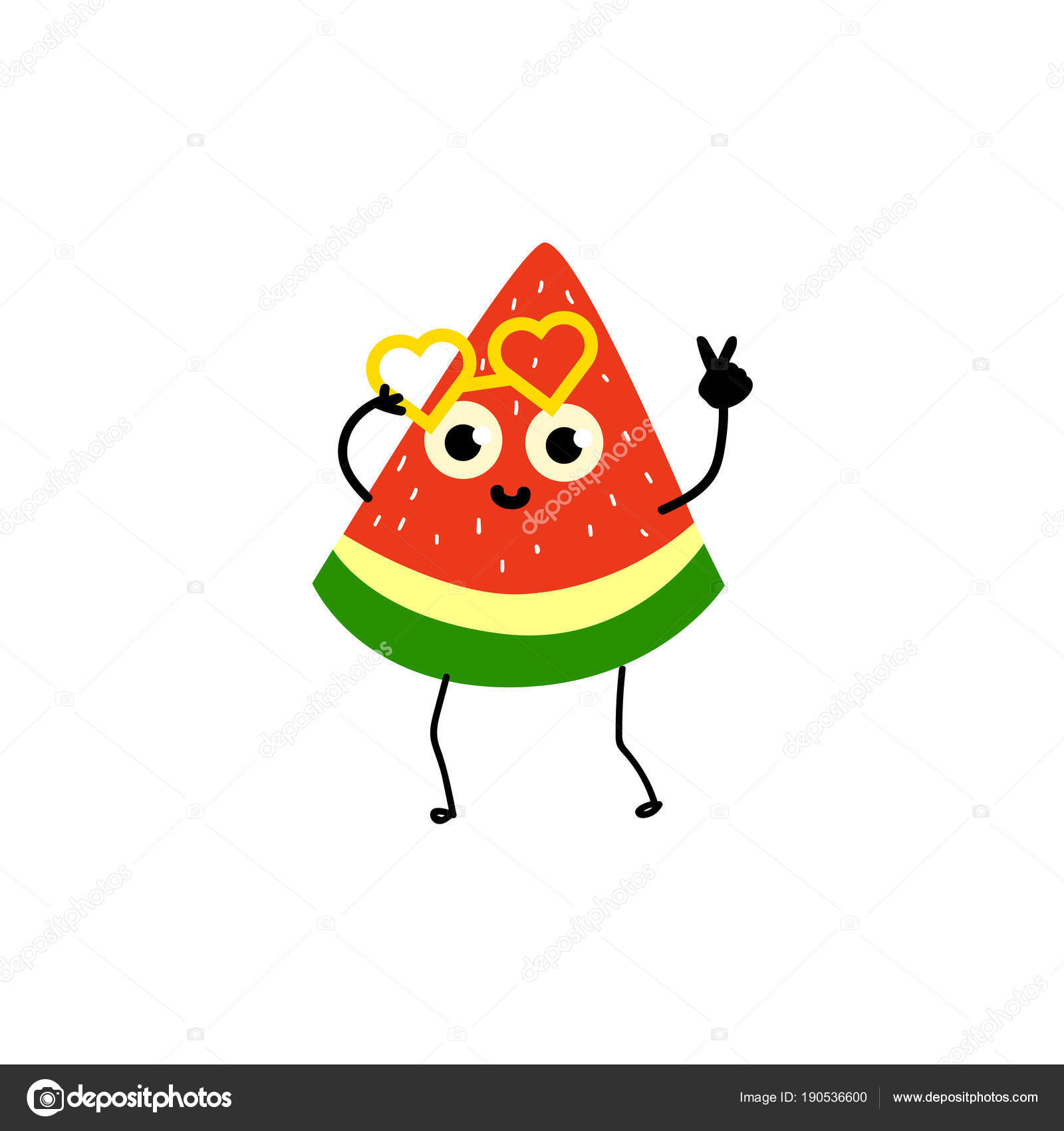 9df9bb3f5c Funny watermelon party character with human face wearing heart-shaped  glasses