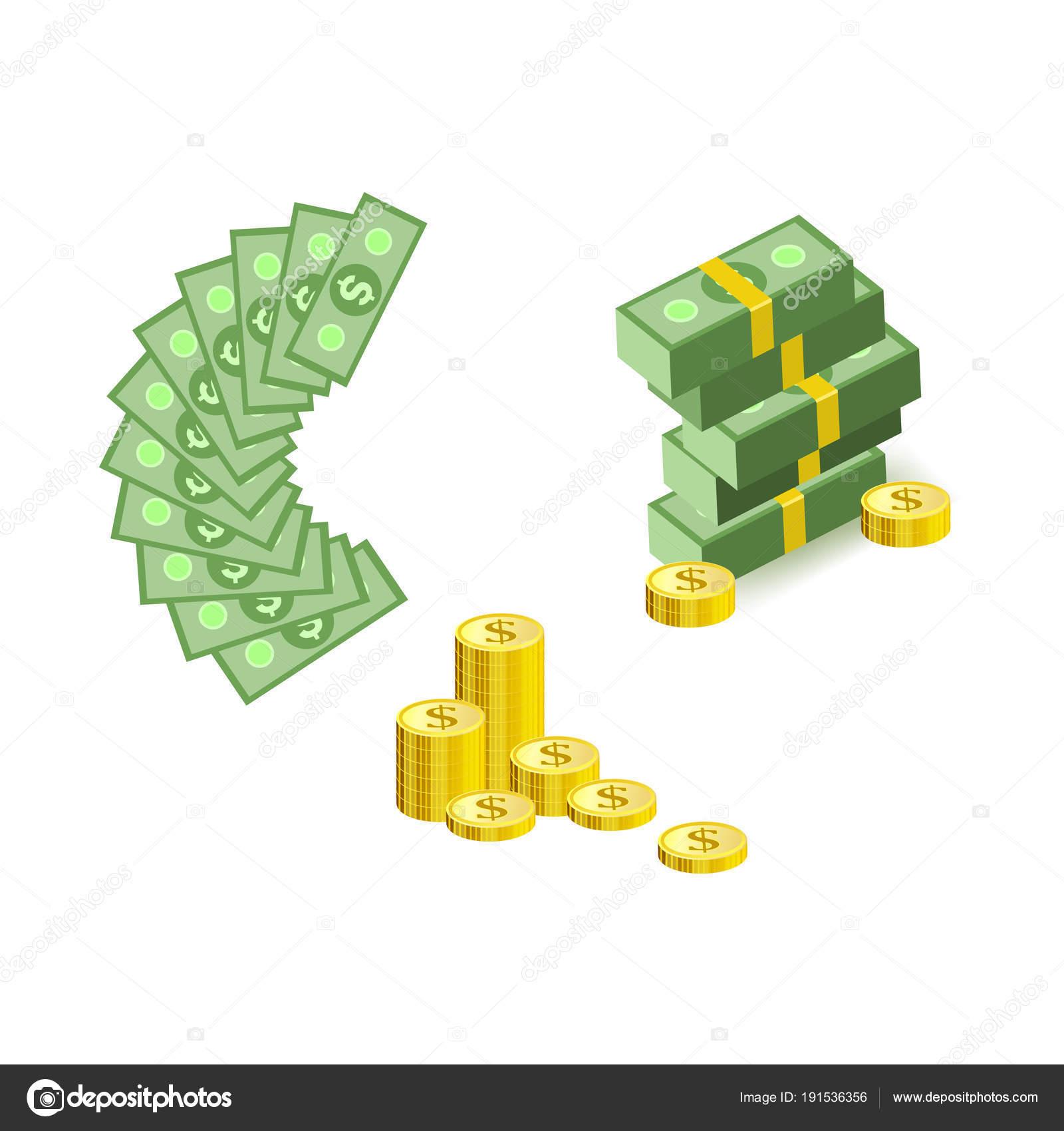 Conjunto De Dibujos Animados Dinero Moneda Elementos Con Monedas De